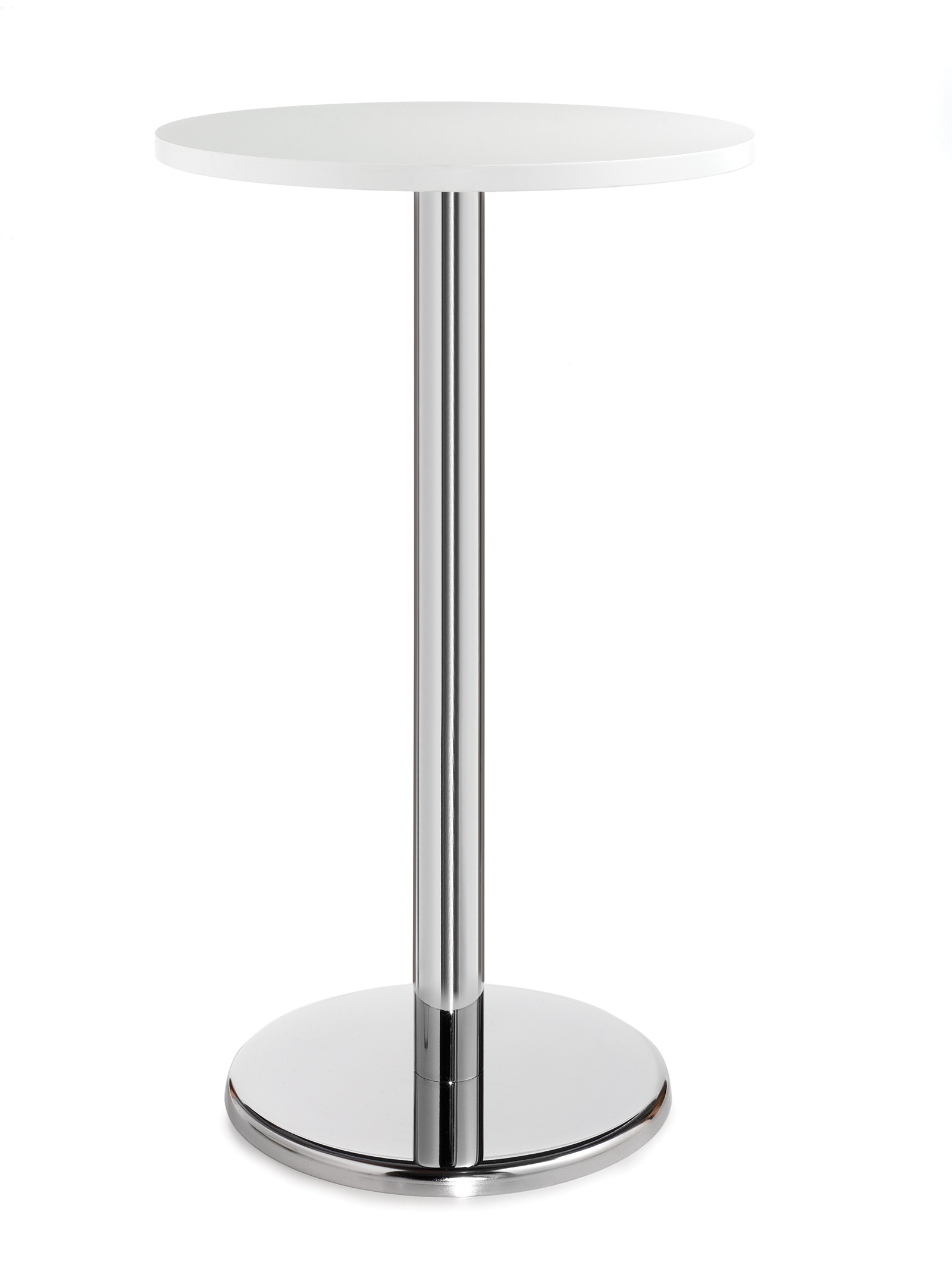 Pisa circular poseur table with round chrome base 800mm - white
