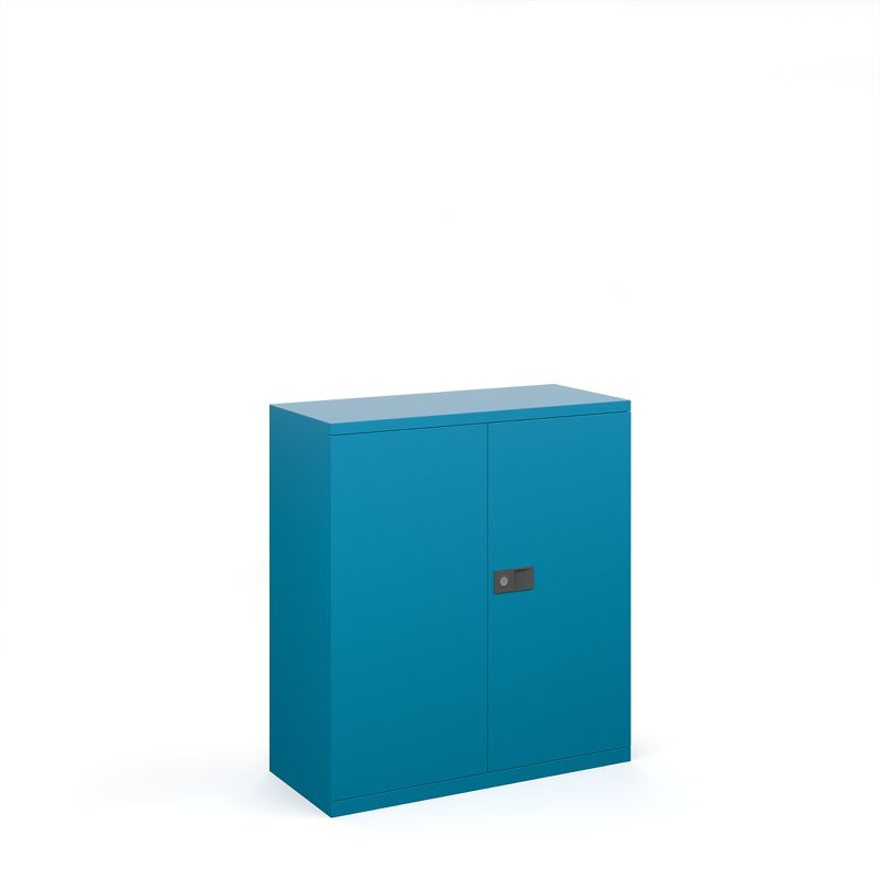Steel contract cupboard with 1 shelf 1000mm high - blue