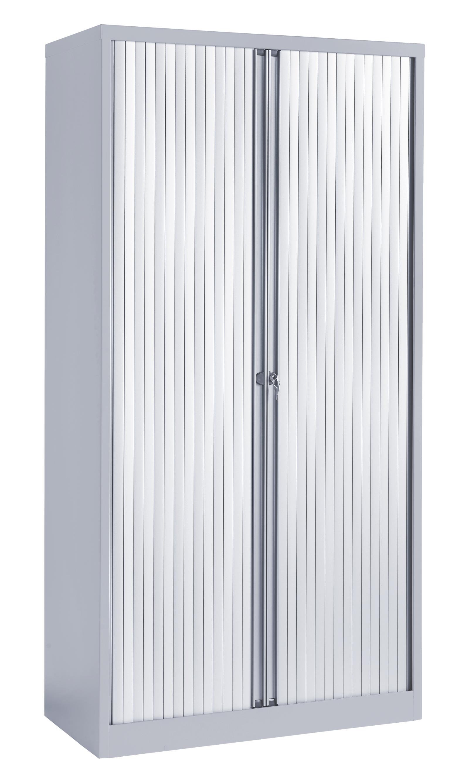 Contract Tall Tambour Door Cupboard Empty Grey