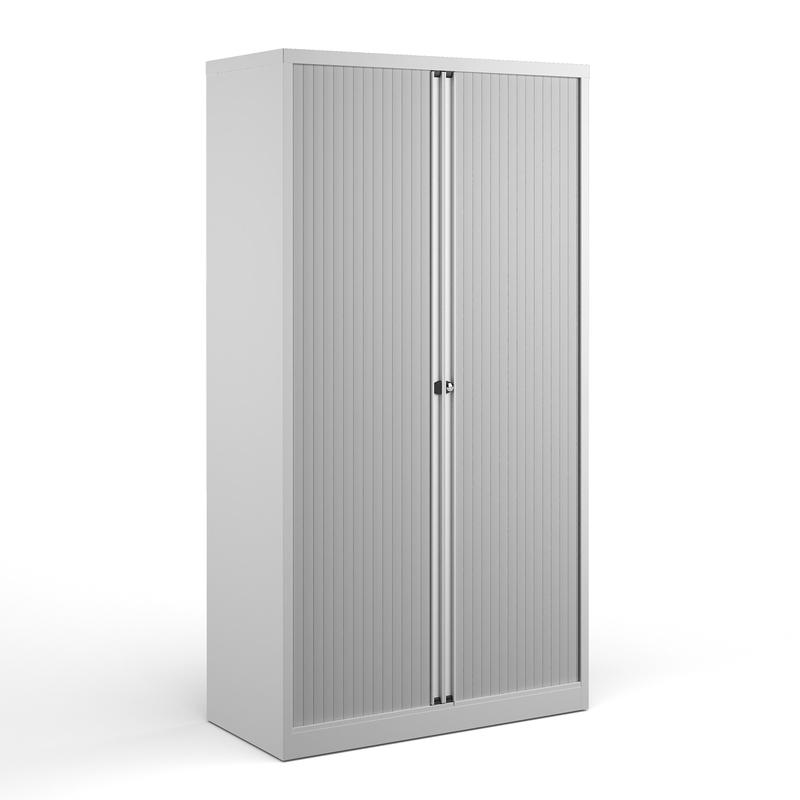 Steel high tambour cupboard 1970mm high - white