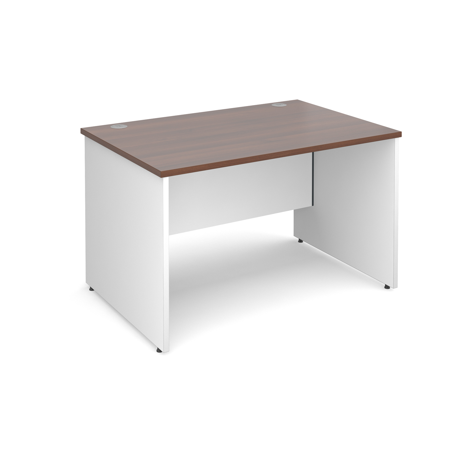 Duo Straight Desk 1200mm x 800mm - White Panel Leg, Walnut Top