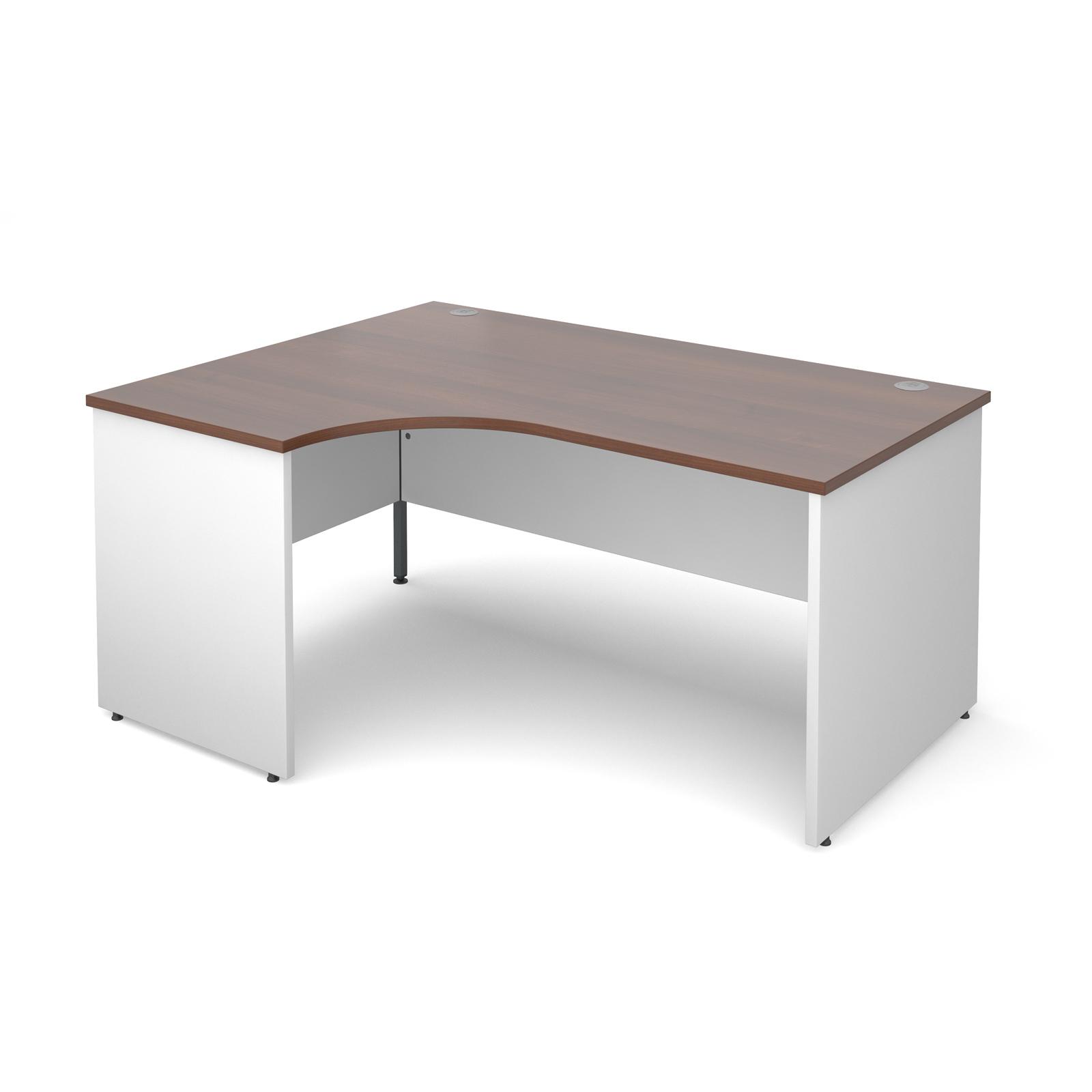 Duo Left Hand Ergonomic Desk 1600mm - White Panel Leg, Walnut Top