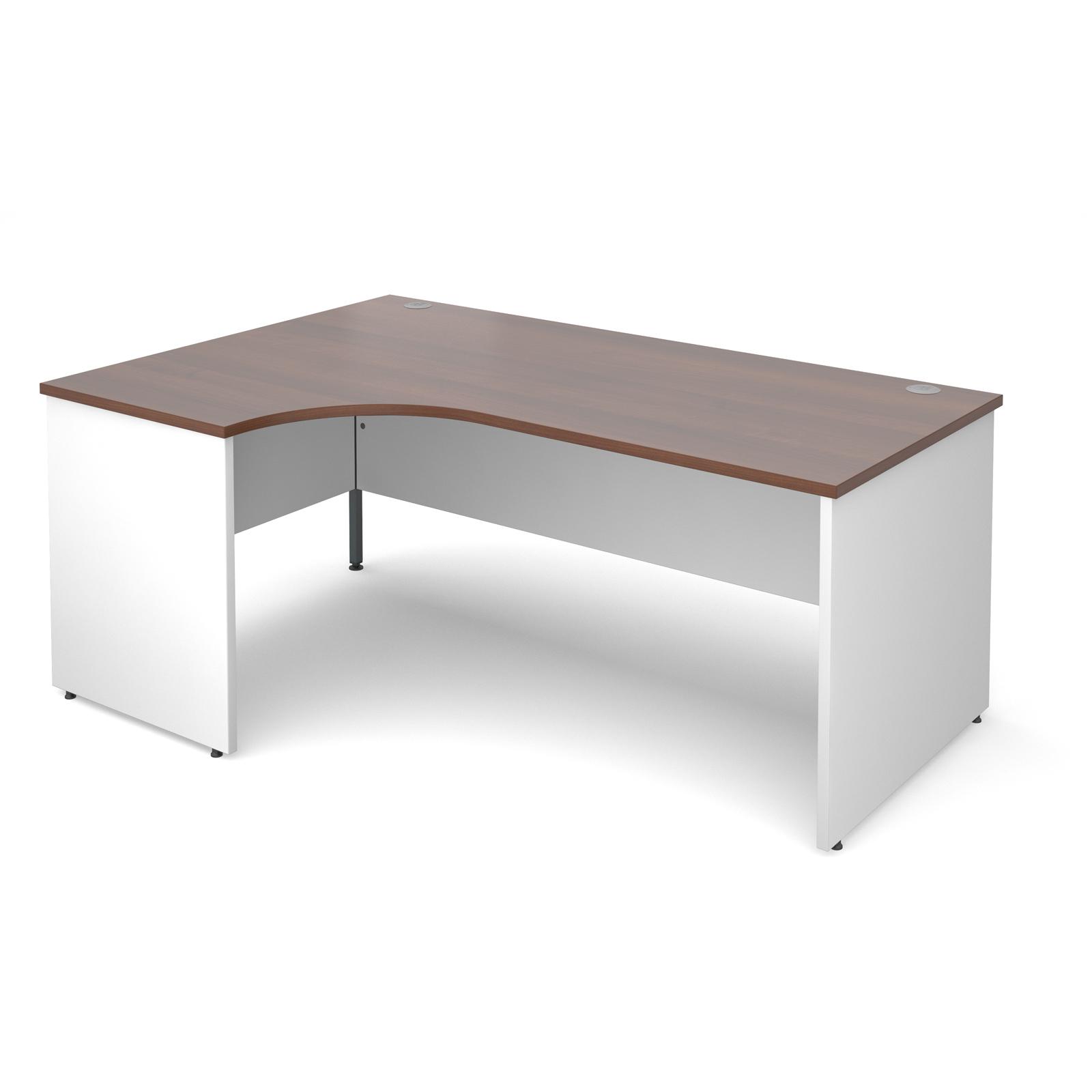 Duo Left Hand Ergonomic Desk 1800mm - White Panel Leg, Walnut Top