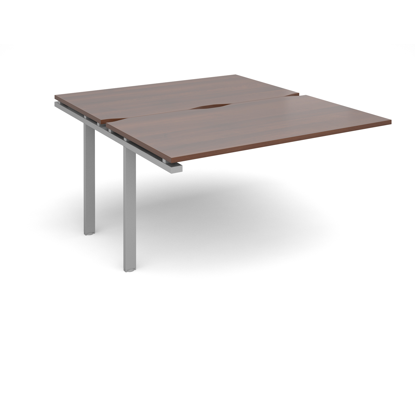 Adapt II Add On Units Back To Back 1400x1600mm Silver Frame Walnut Top