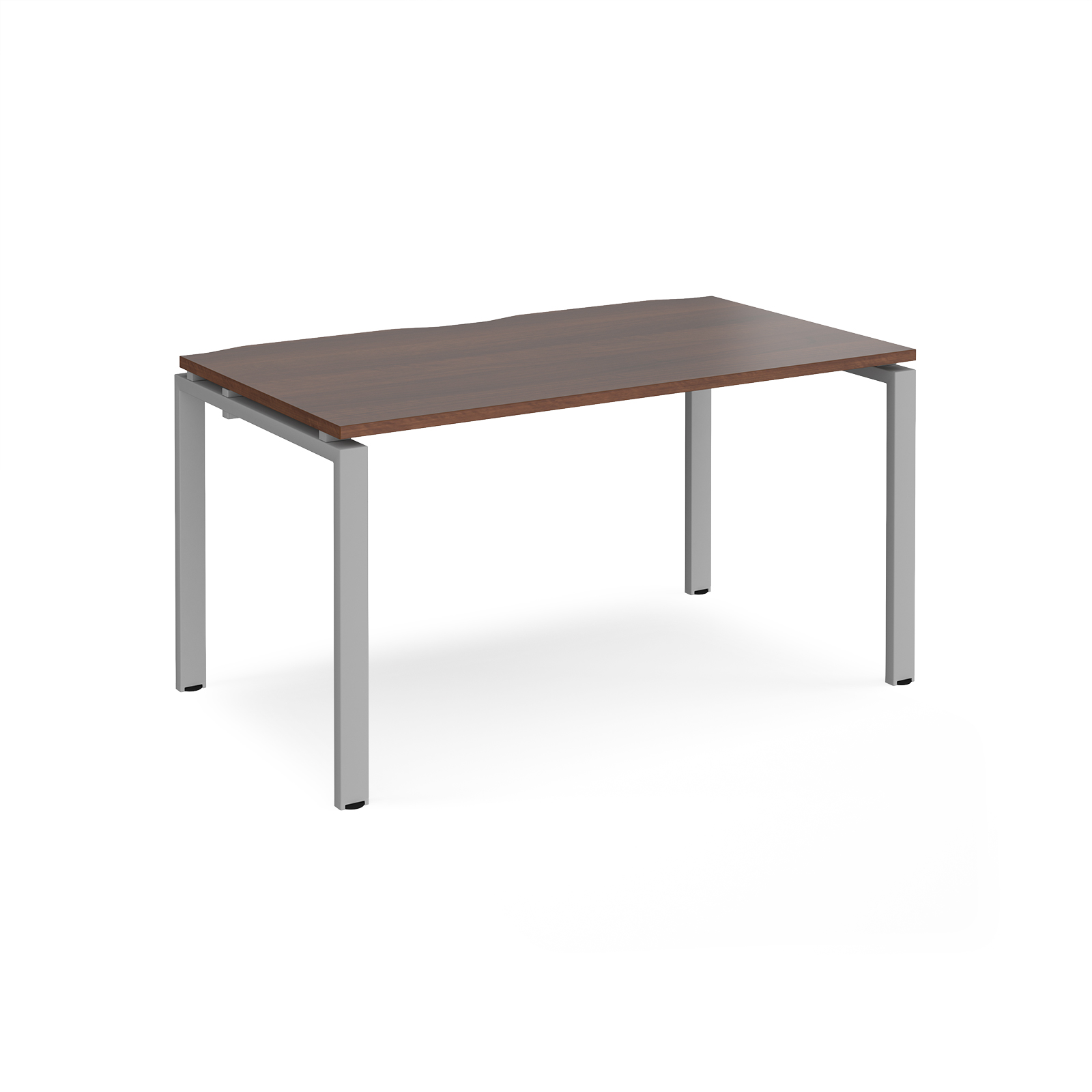 Image for Adapt II Single Desk 1400x800mm Silver Frame Walnut Top