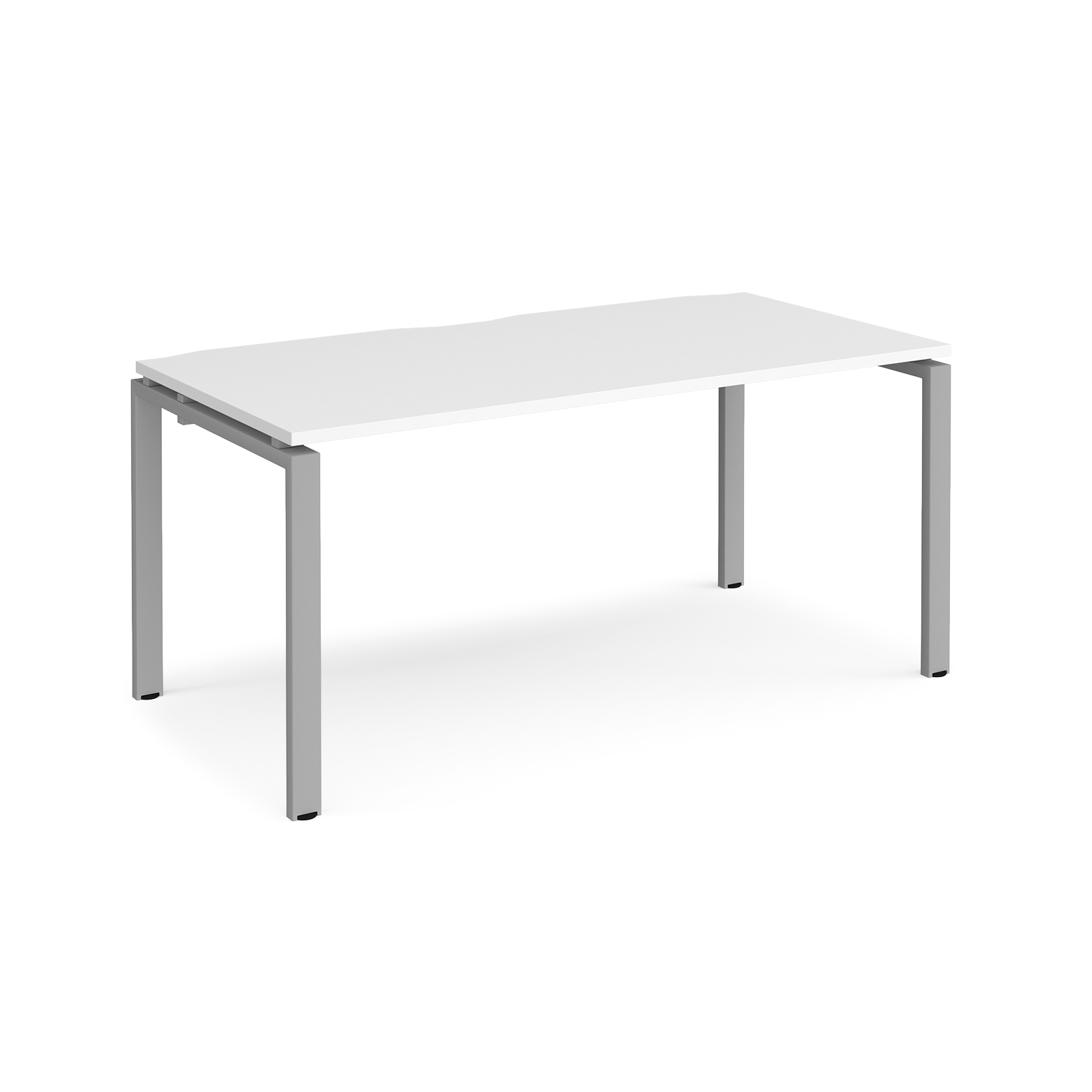 Adapt II Single Desk 1600mm x 800mm - Silver Frame, White Top
