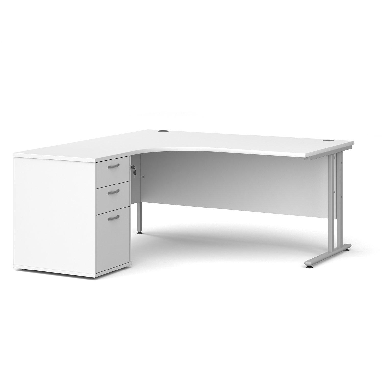 Maestro 25 left hand ergonomic desk 1600mm with silver cantilever frame and desk high pedestal - white