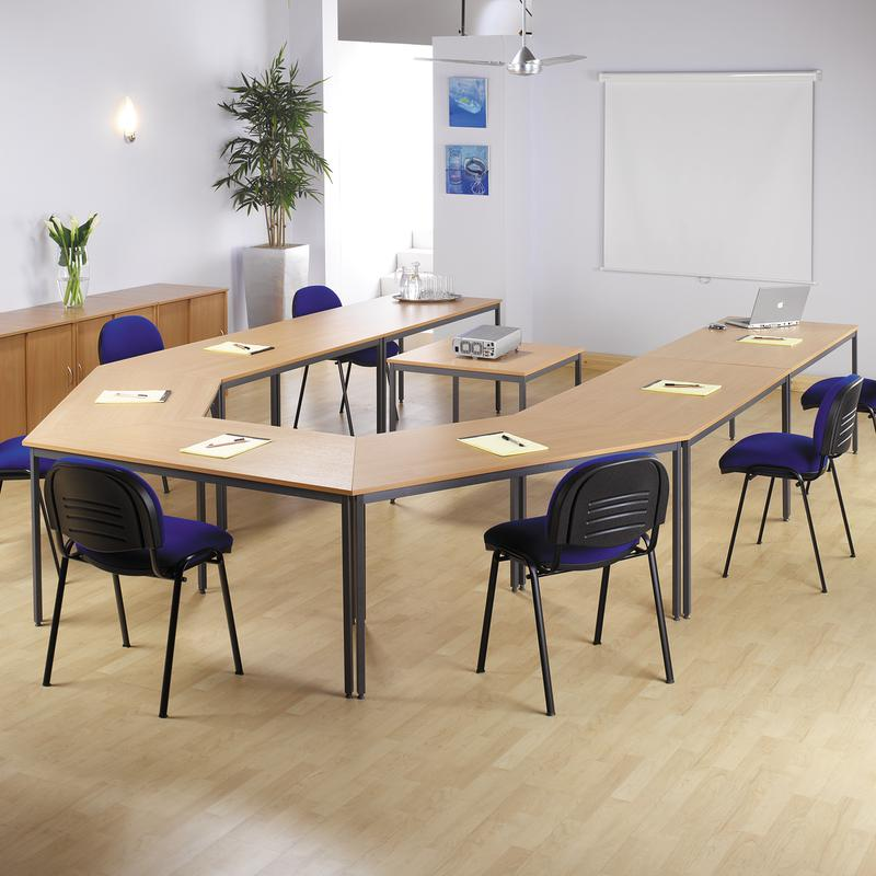 Semi Circular Mm Wide Flexi Table With Graphite Frame In Oak - Semi circle conference table