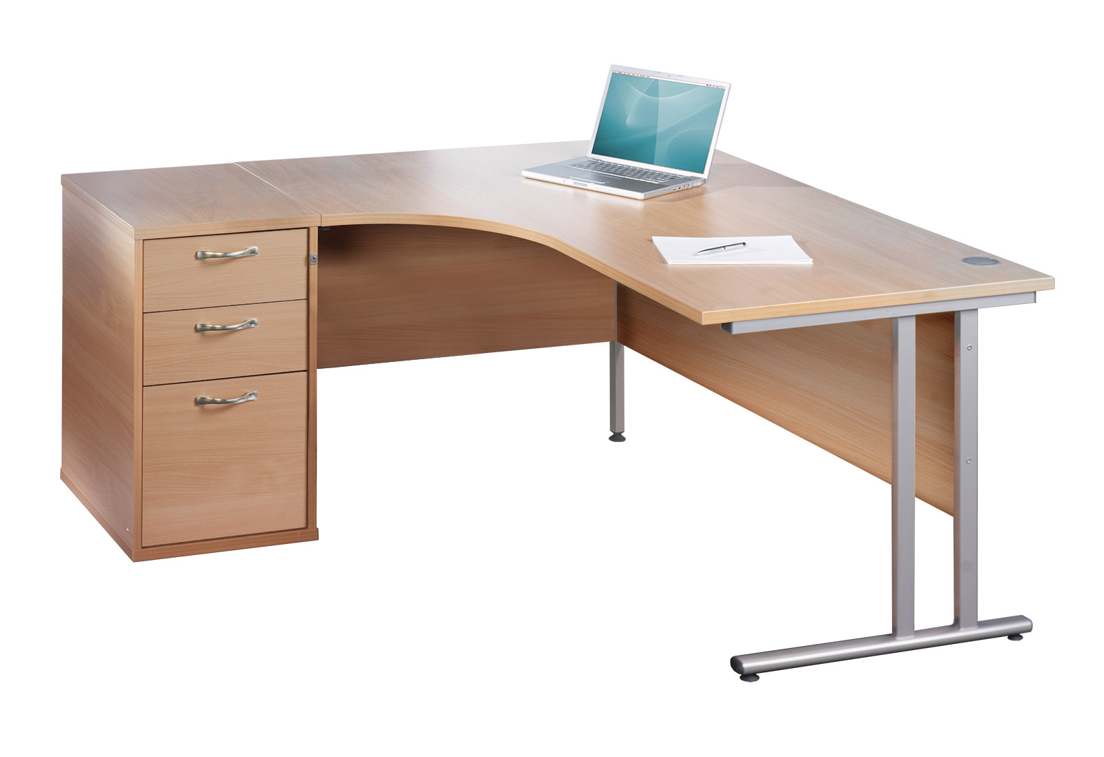Maestro 25 WL left hand ergonomic desk 1600mm with white cantilever frame and desk high pedestal - oak