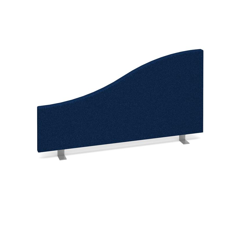 Wave desktop fabric screen 800mm x 400mm/200mm - blue