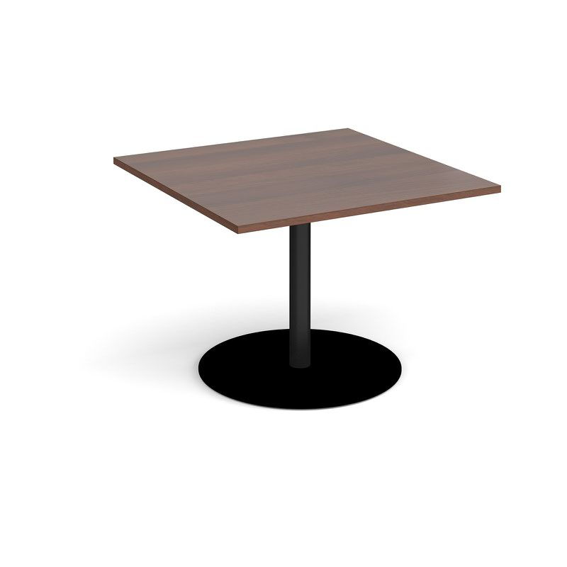 Eternal square extension table 1000mm x 1000mm - black base and walnut top
