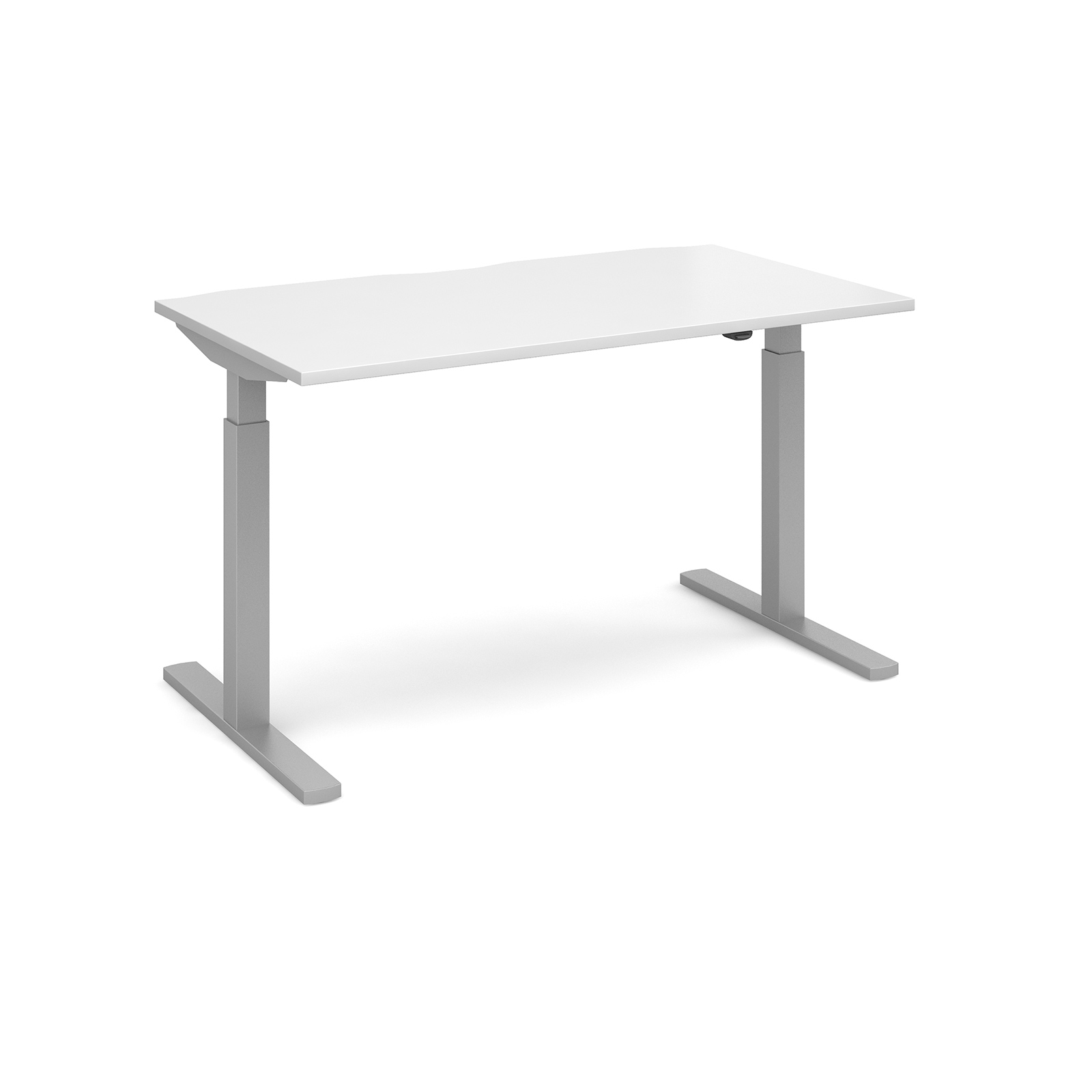 Elev8 Mono Straight Sit-Stand Desk 1400mm x 800mm - Silver Frame, White Top