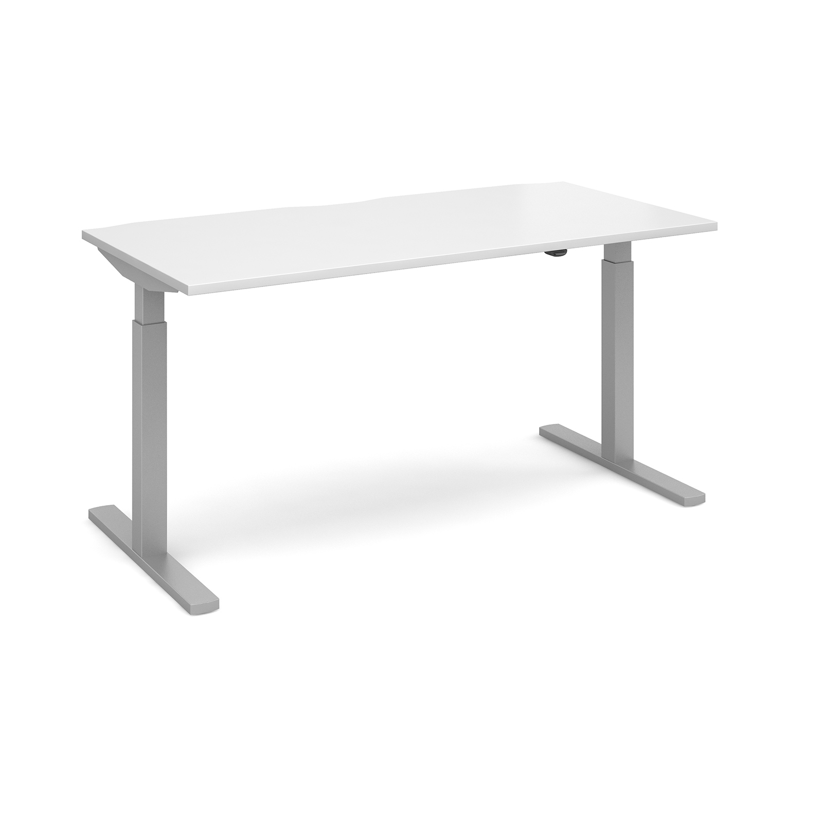 Elev8 Mono Straight Sit-Stand Desk 1600mm x 800mm - Silver Frame, White Top