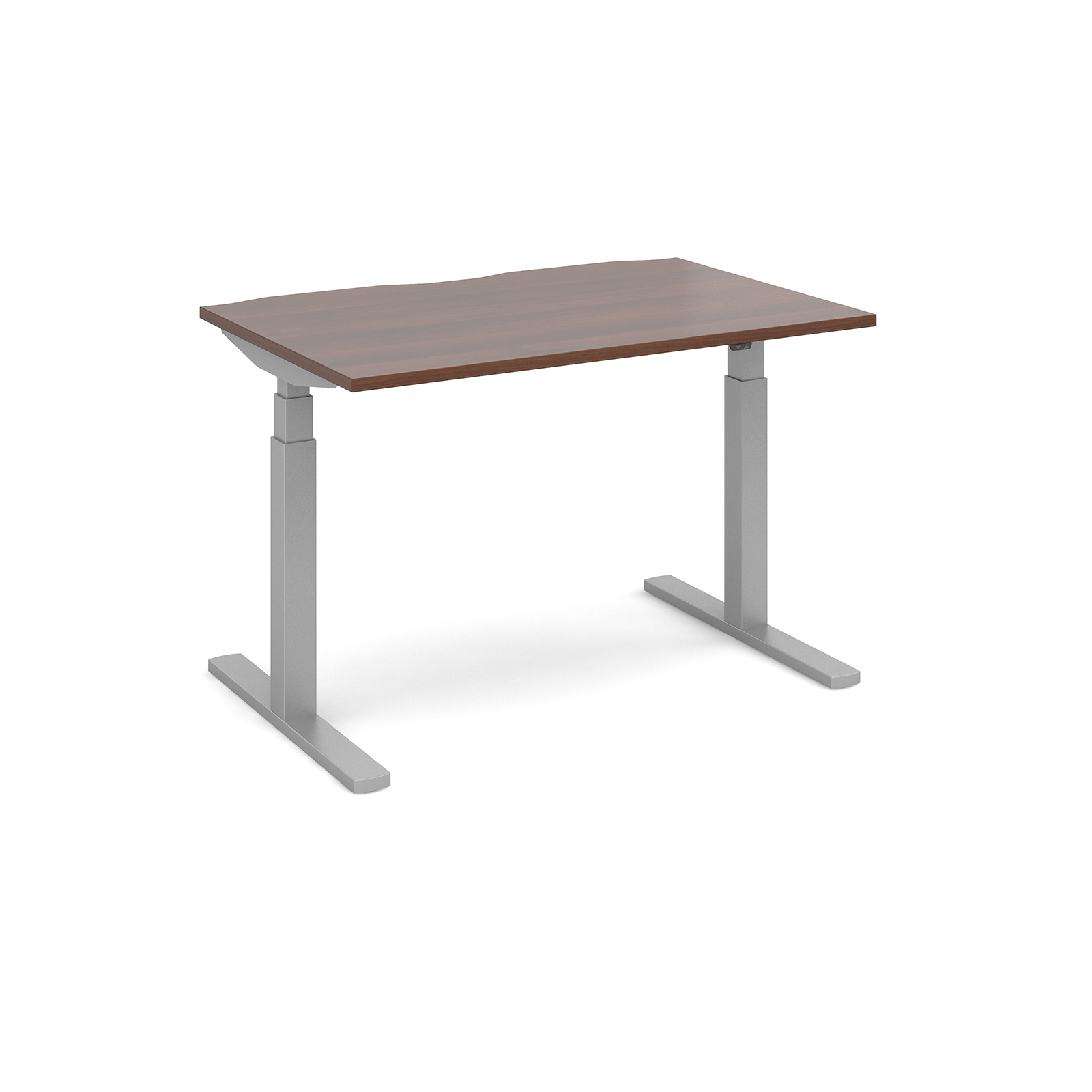 Elev8 Touch Straight Sit-Stand Desk 1200mm x 800mm - Silver Frame, Walnut Top