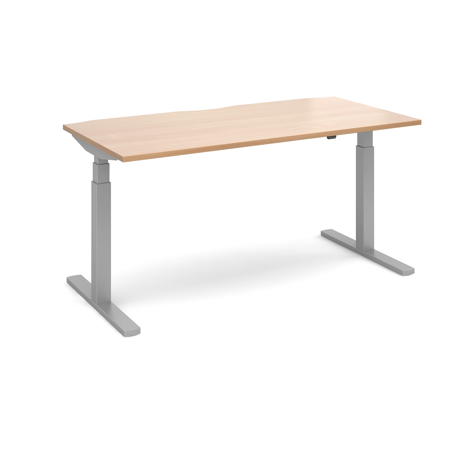 Elev8 Touch Straight Sit-Stand Desk 1600mm x 800mm - Silver Frame, Beech Top