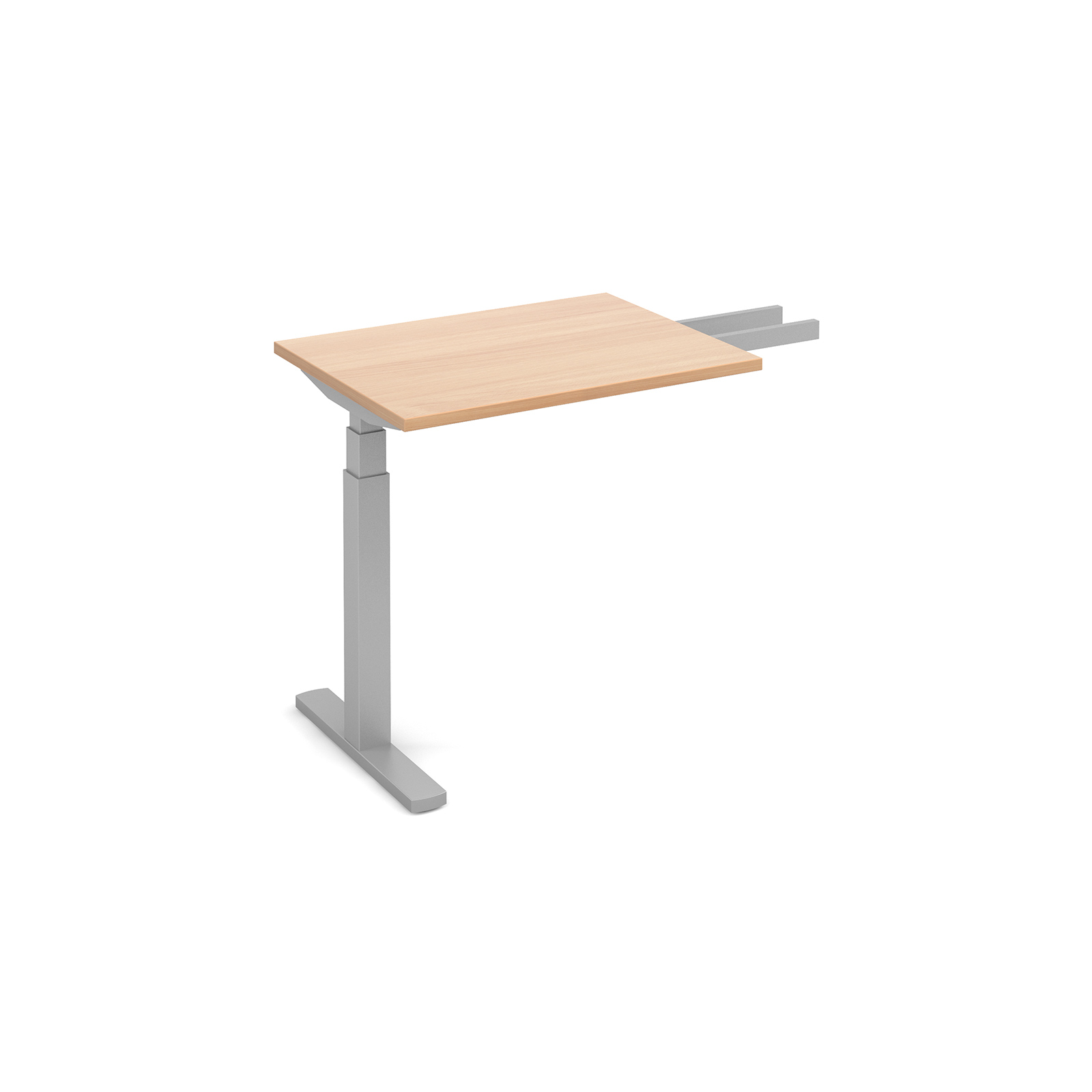 Elev8 Touch sit-stand return desk 600mm x 800mm - silver frame, beech top