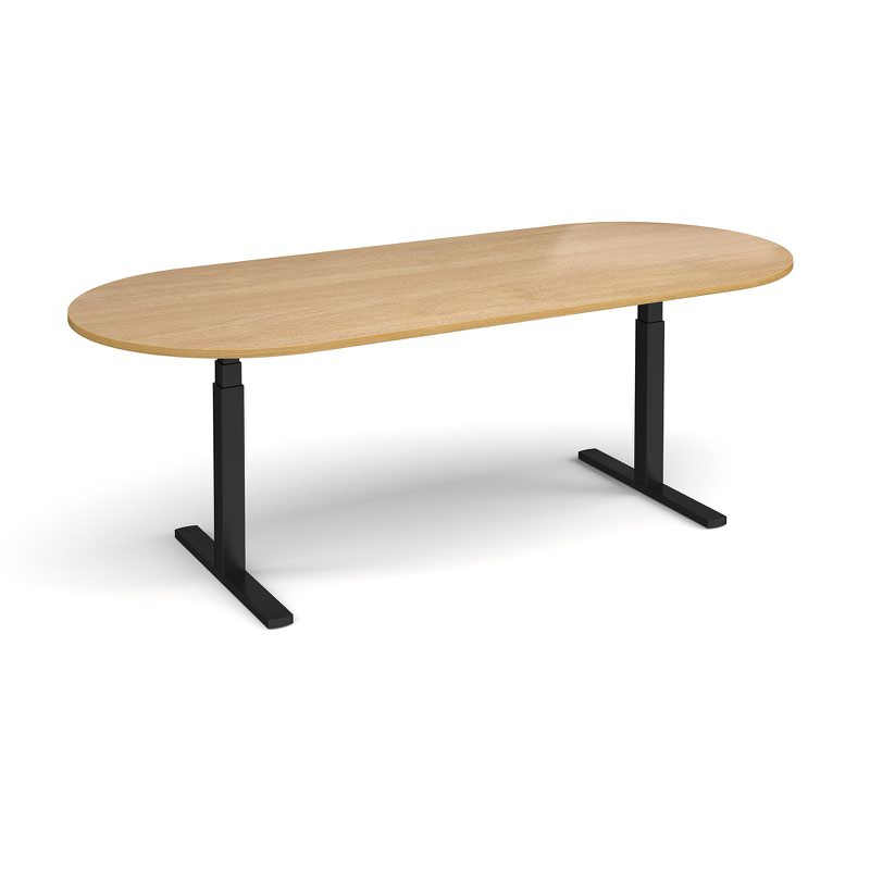 Elev8 Touch radial end boardroom table 2400mm x 1000mm - black frame and oak top
