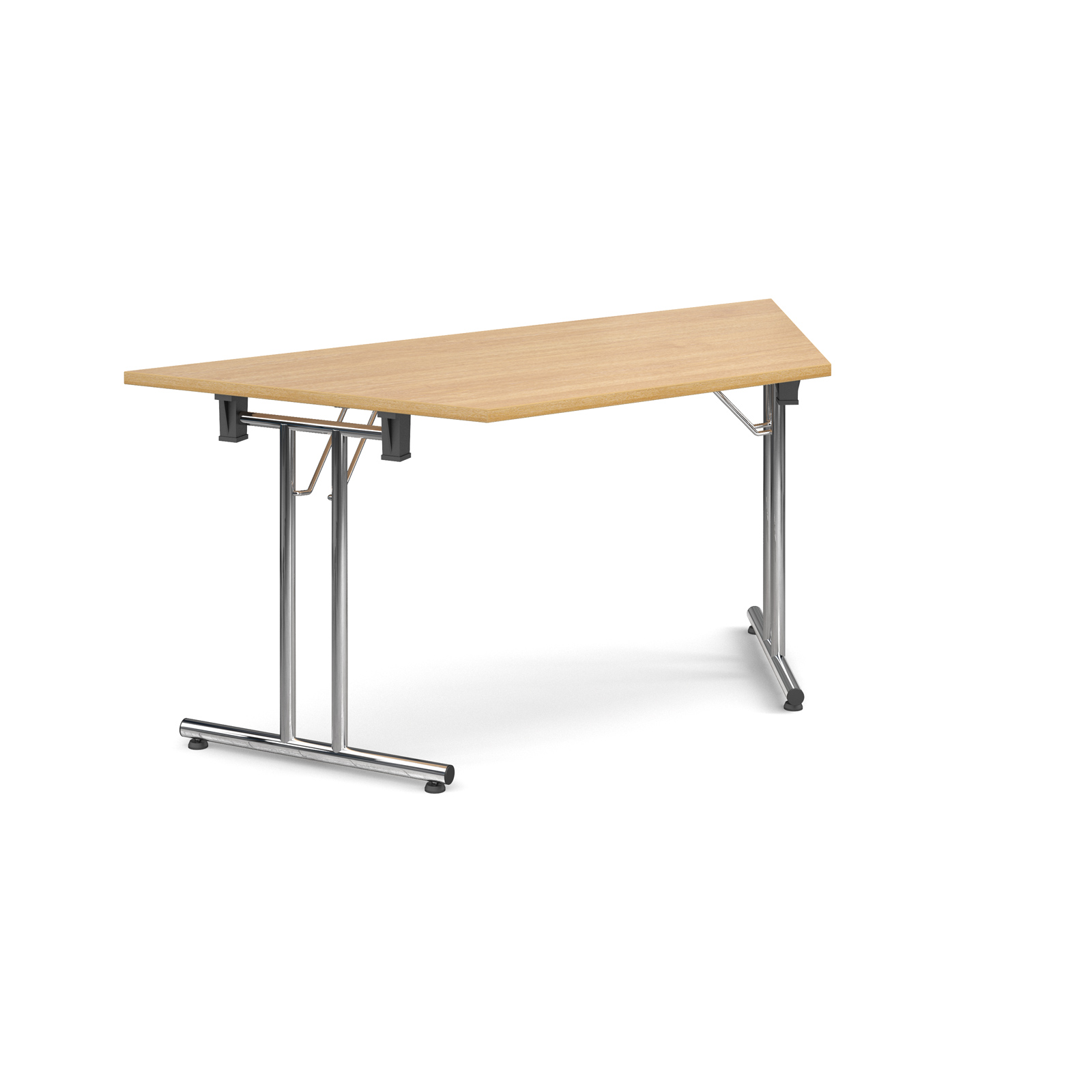 Trapezoidal deluxe folding leg table 1600mm x 800mm - oak