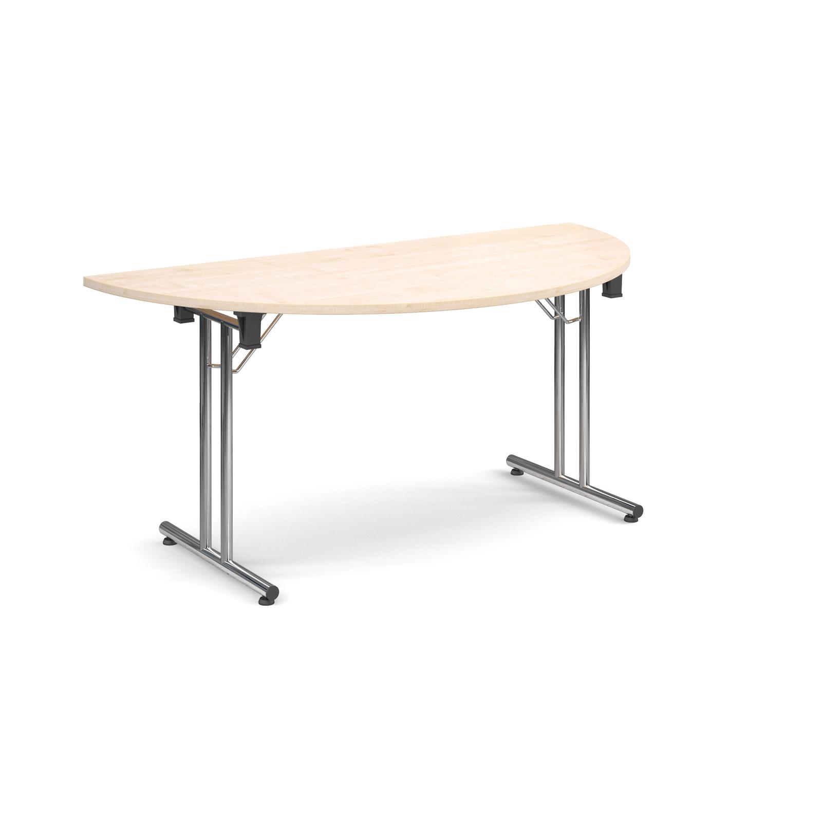 Semi circular deluxe folding leg table 1600mm x 800mm - maple