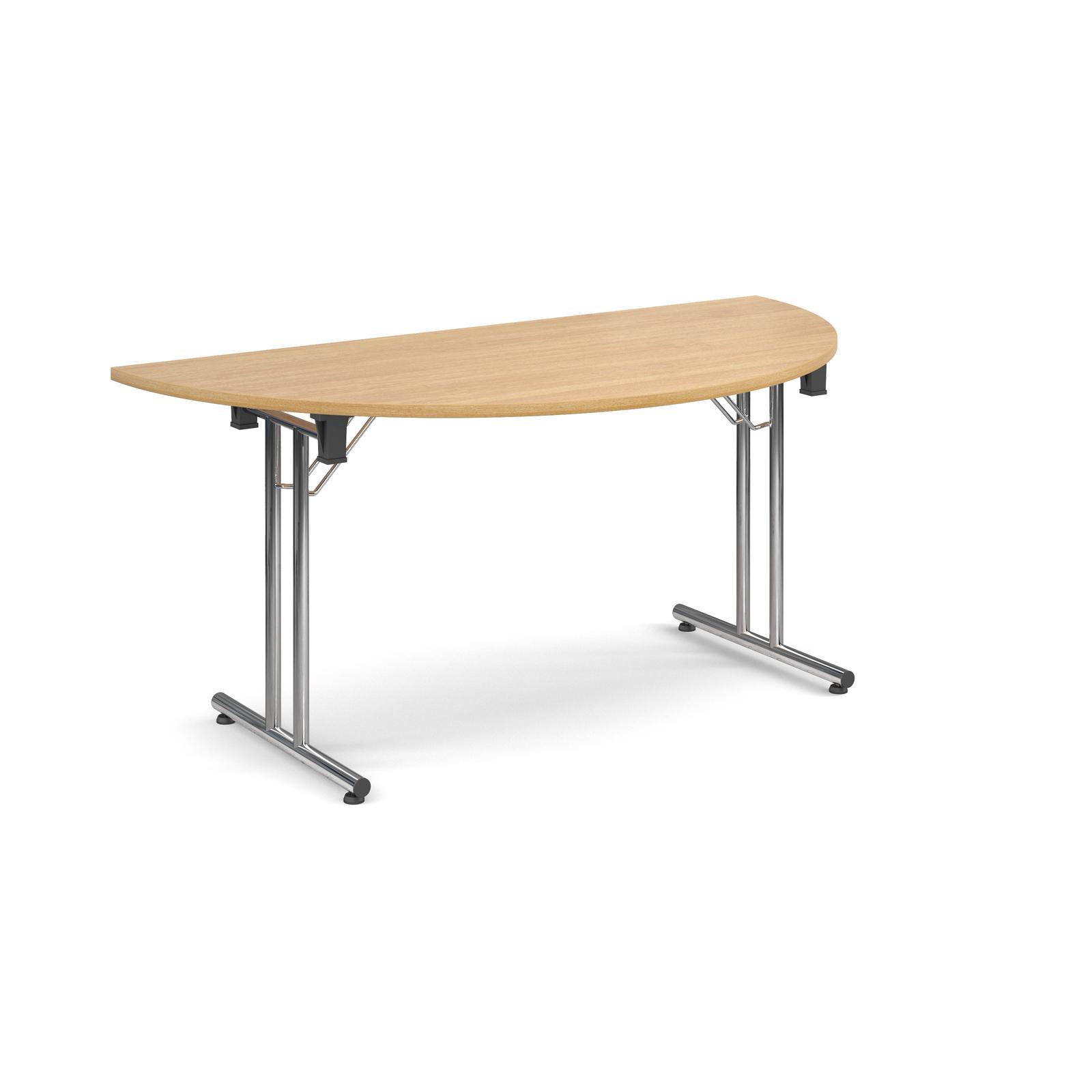 Semi circular deluxe folding leg table 1600mm x 800mm - oak