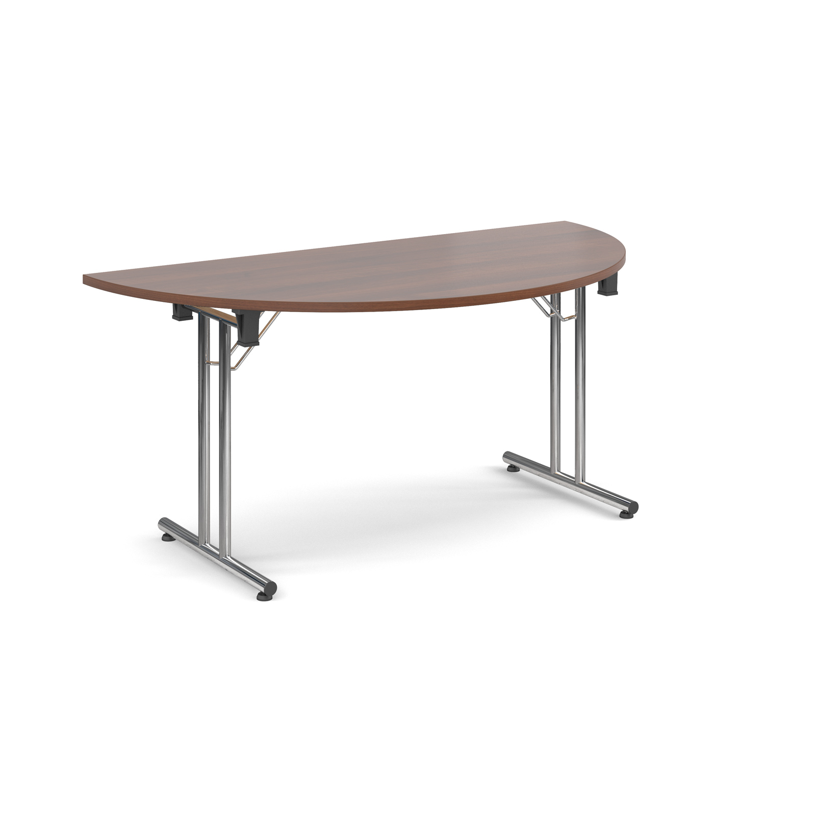 Semi circular deluxe folding leg table 1600mm x 800mm - walnut
