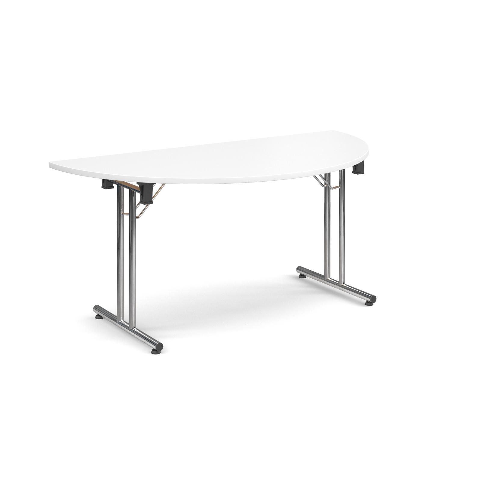 Semi circular deluxe folding leg table 1600mm x 800mm - white