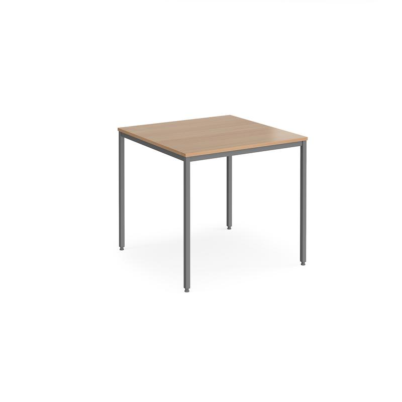 Rectangular flexi table with graphite frame 800mm x 800mm - beech