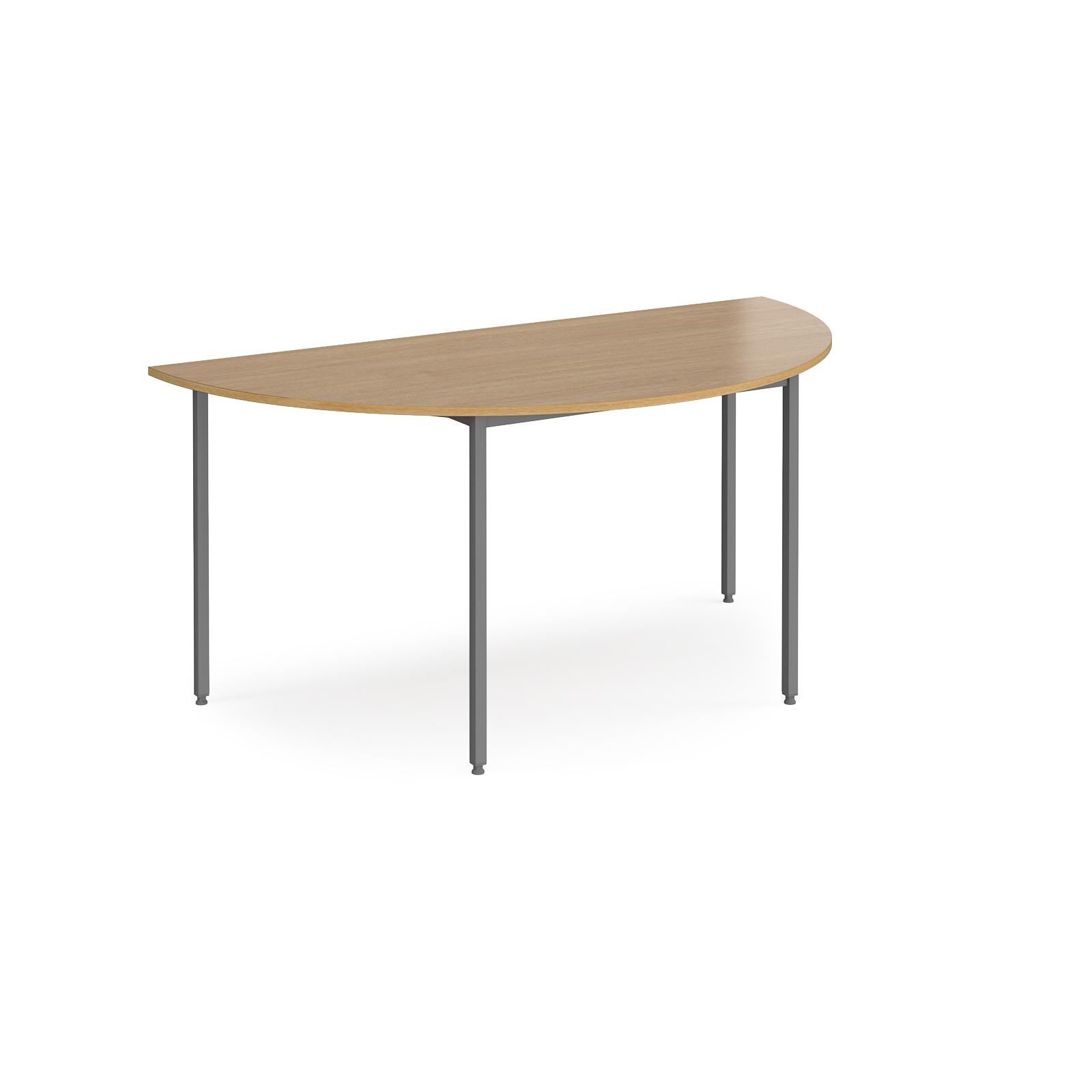 Semi circular flexi table with graphite frame 1600mm x 800mm - oak