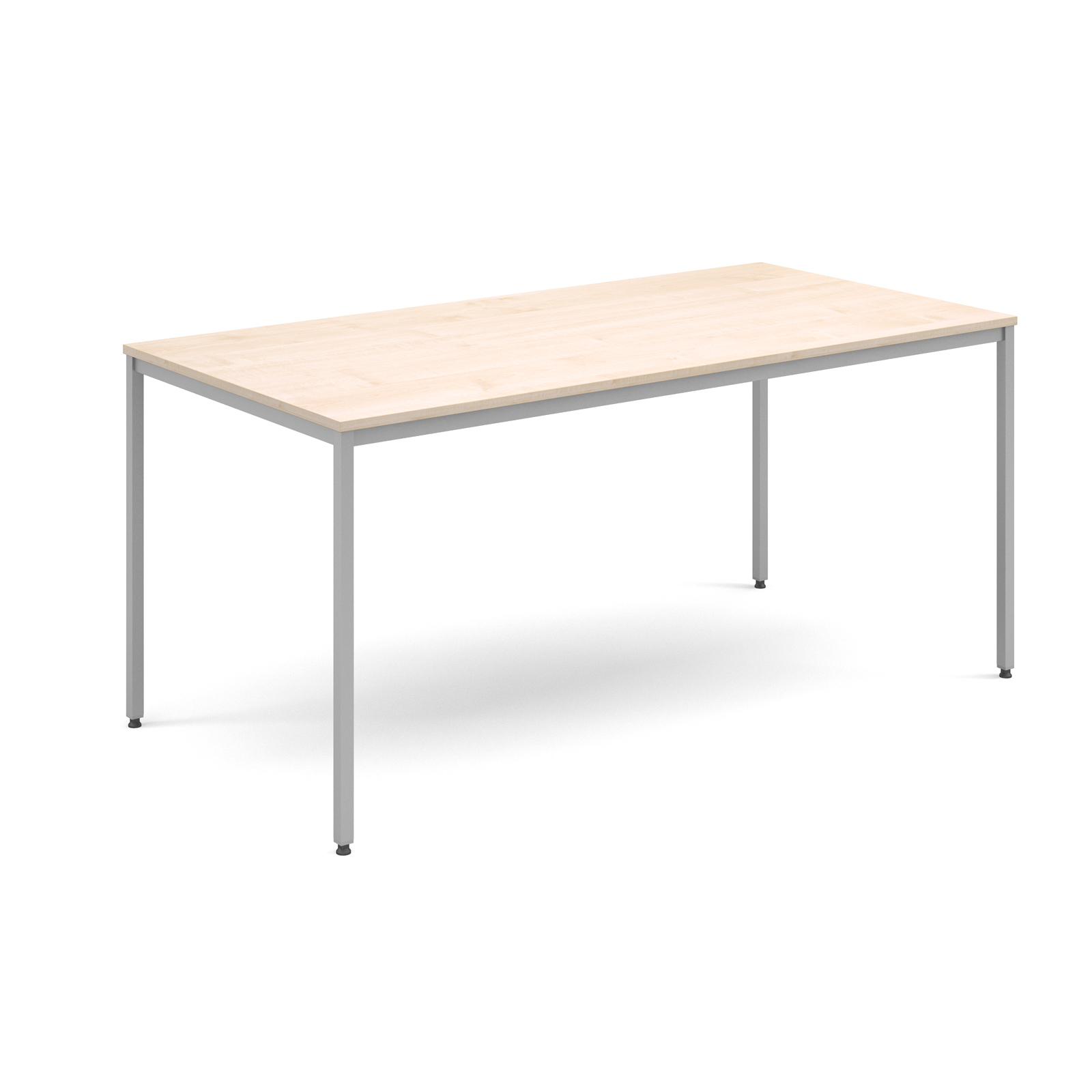 Rectangular flexi table with silver frame 1600mm x 800mm - maple