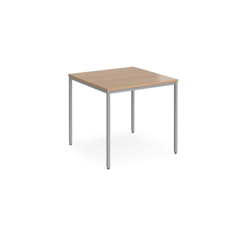Rectangular flexi table with silver frame 800mm x 800mm - beech