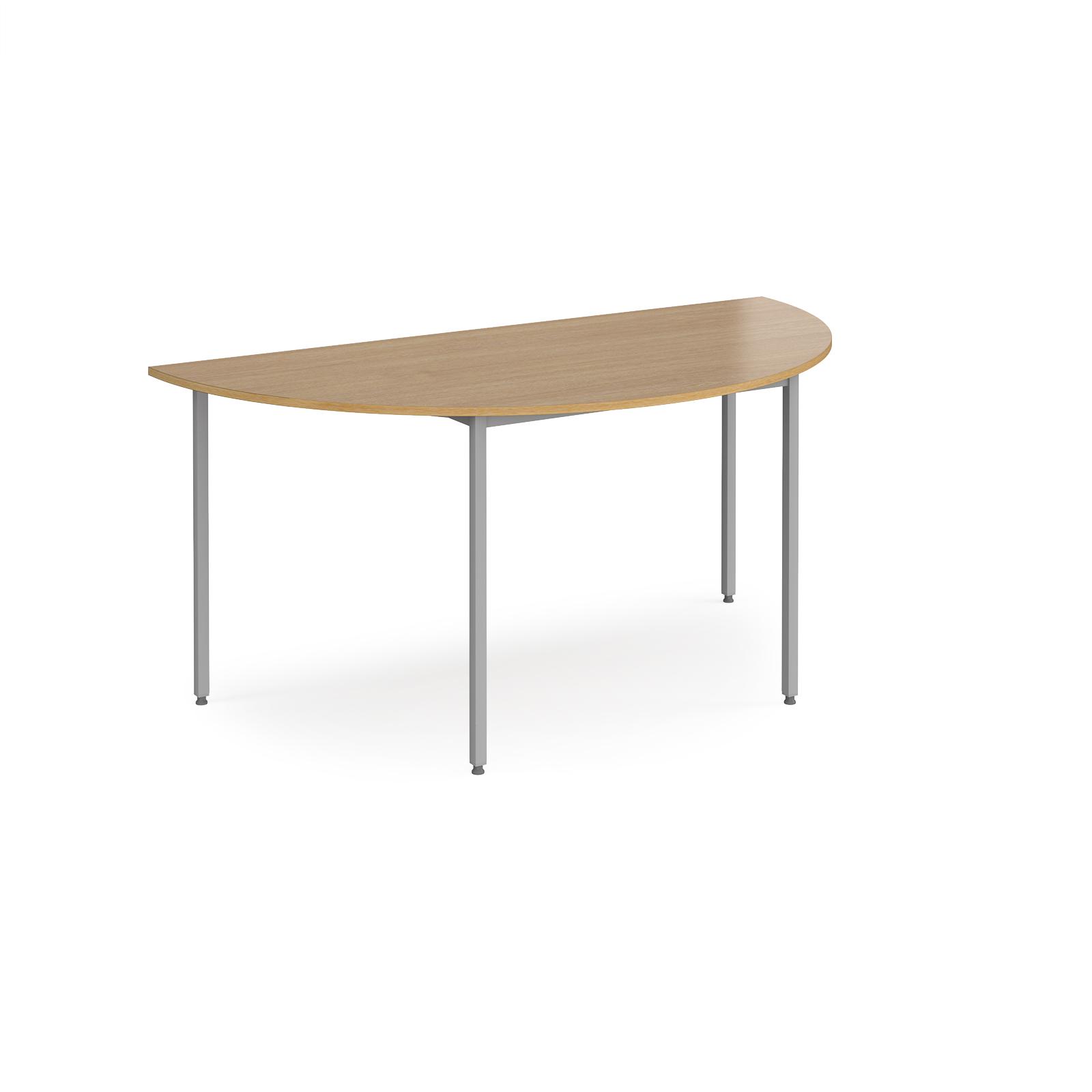 Semi circular flexi table with silver frame 1600mm x 800mm - oak
