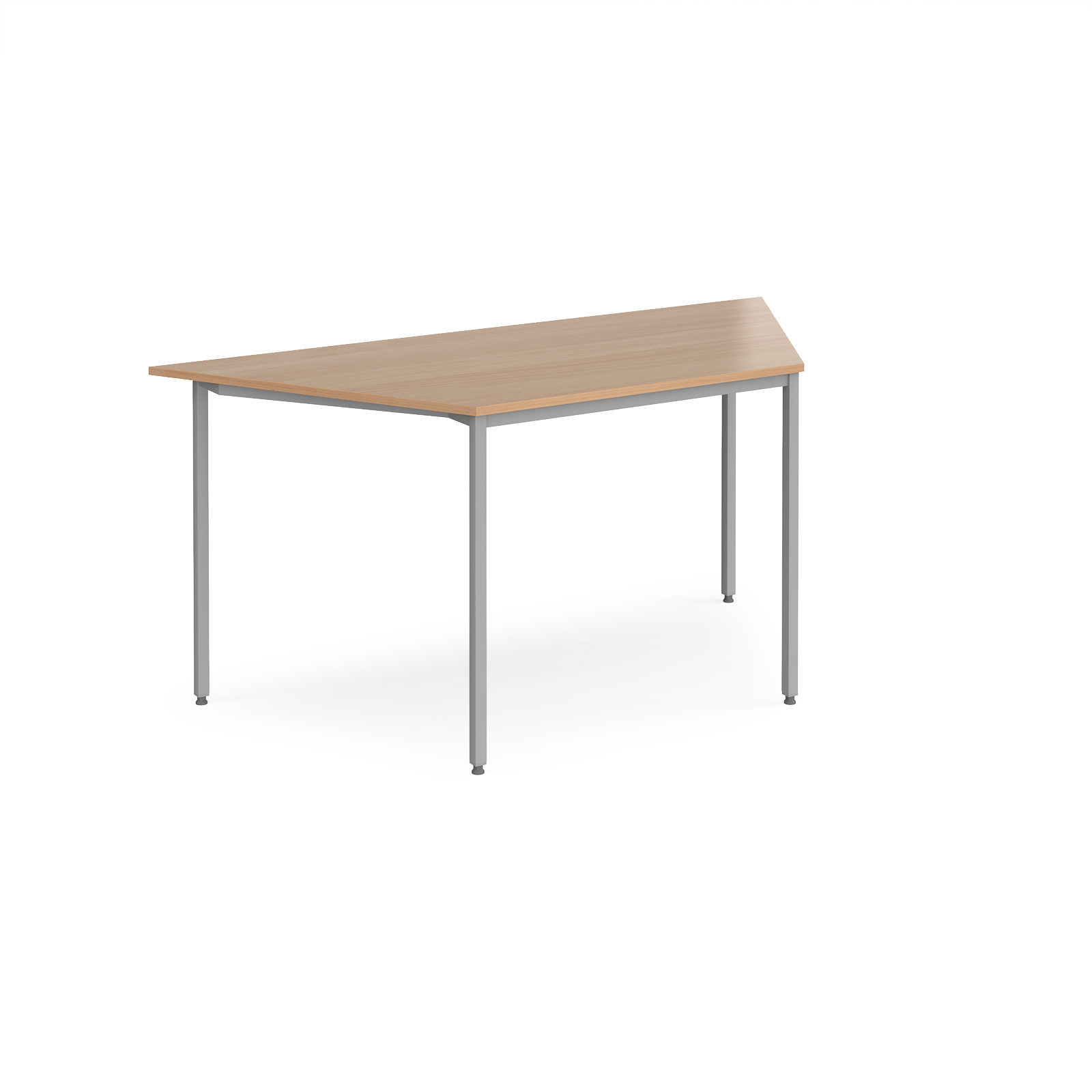 Trapezoidal flexi table with silver frame 1600mm x 800mm - beech