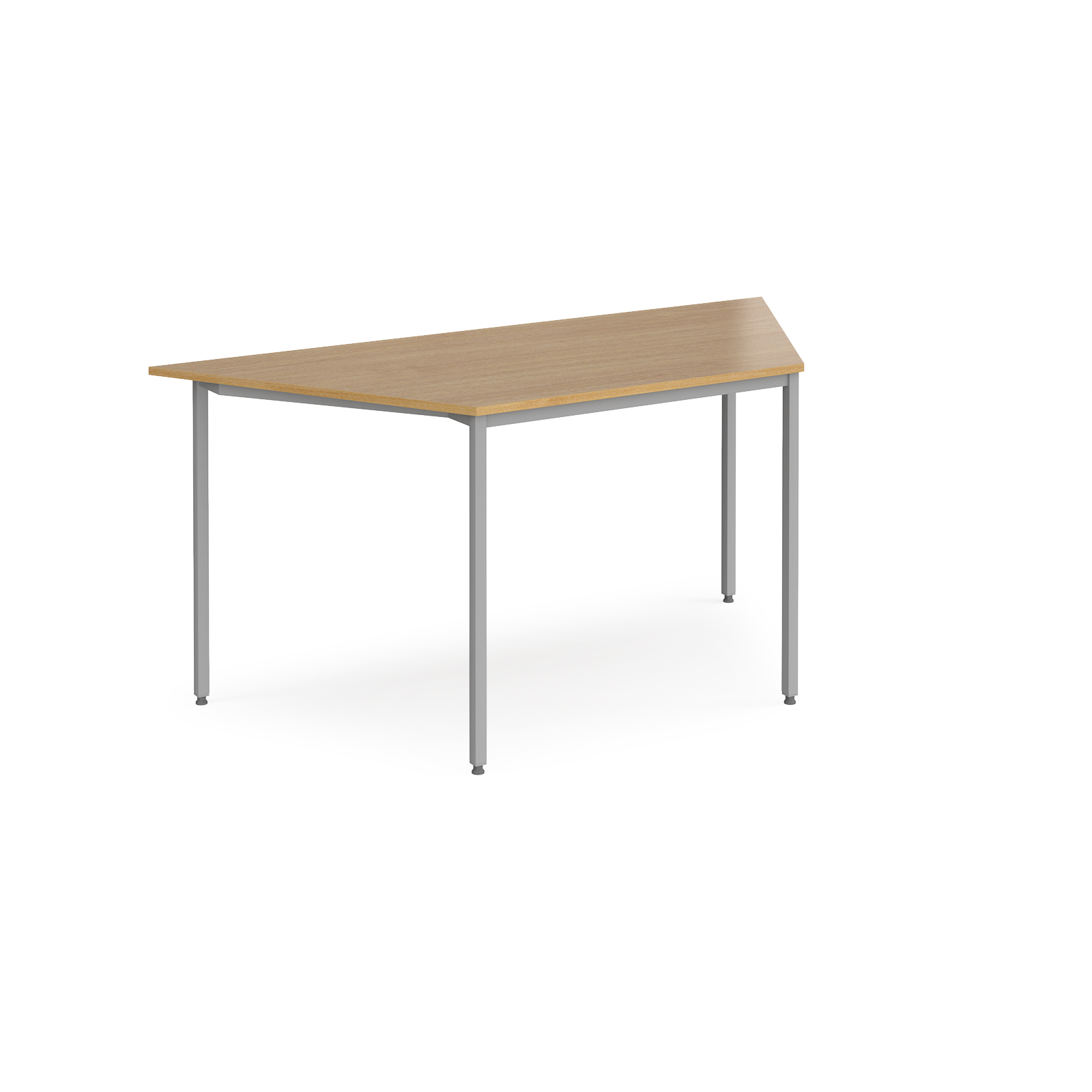 Trapezoidal flexi table with silver frame 1600mm x 800mm - oak