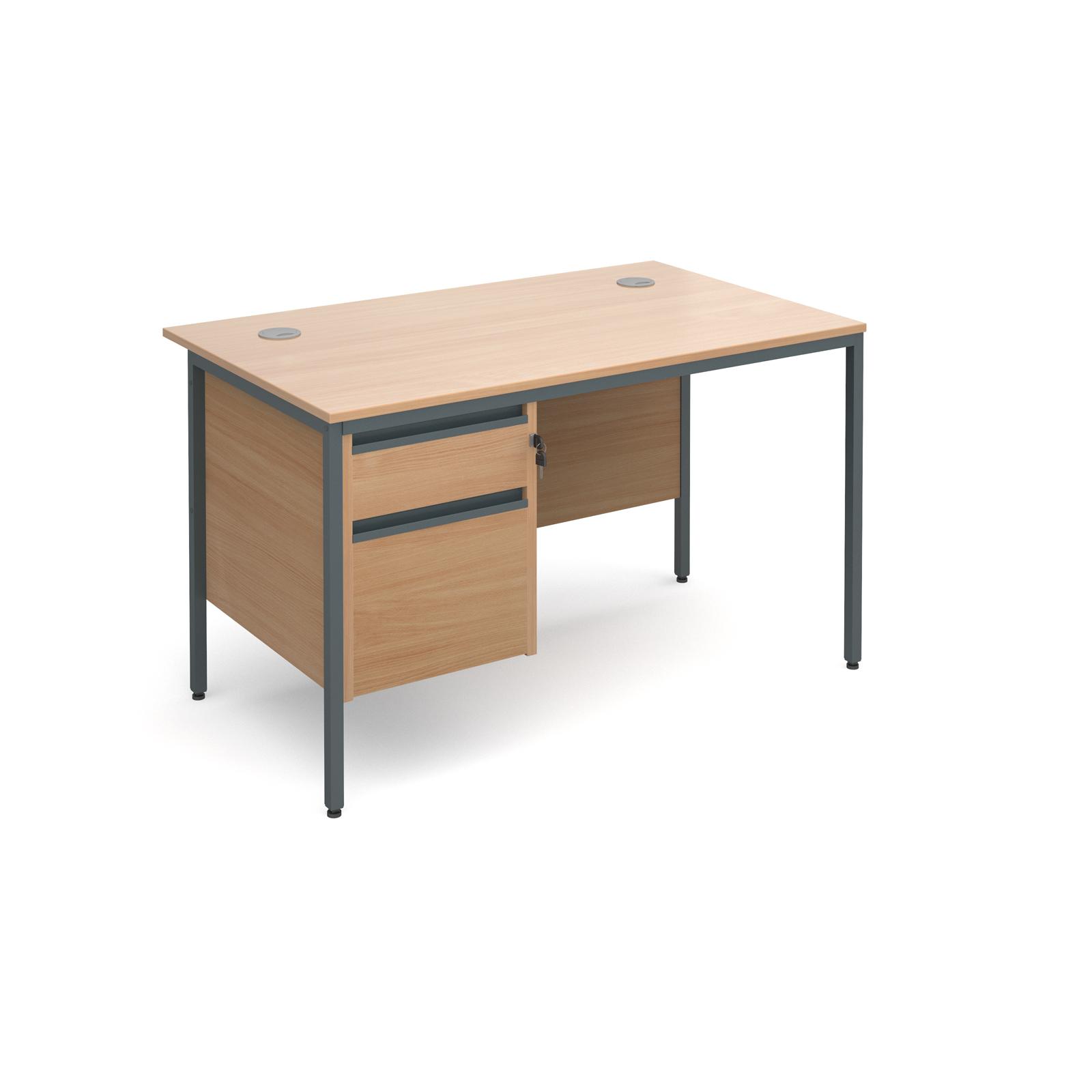 Maestro H frame straight desk with 2 drawer pedestal 1228mm - beech