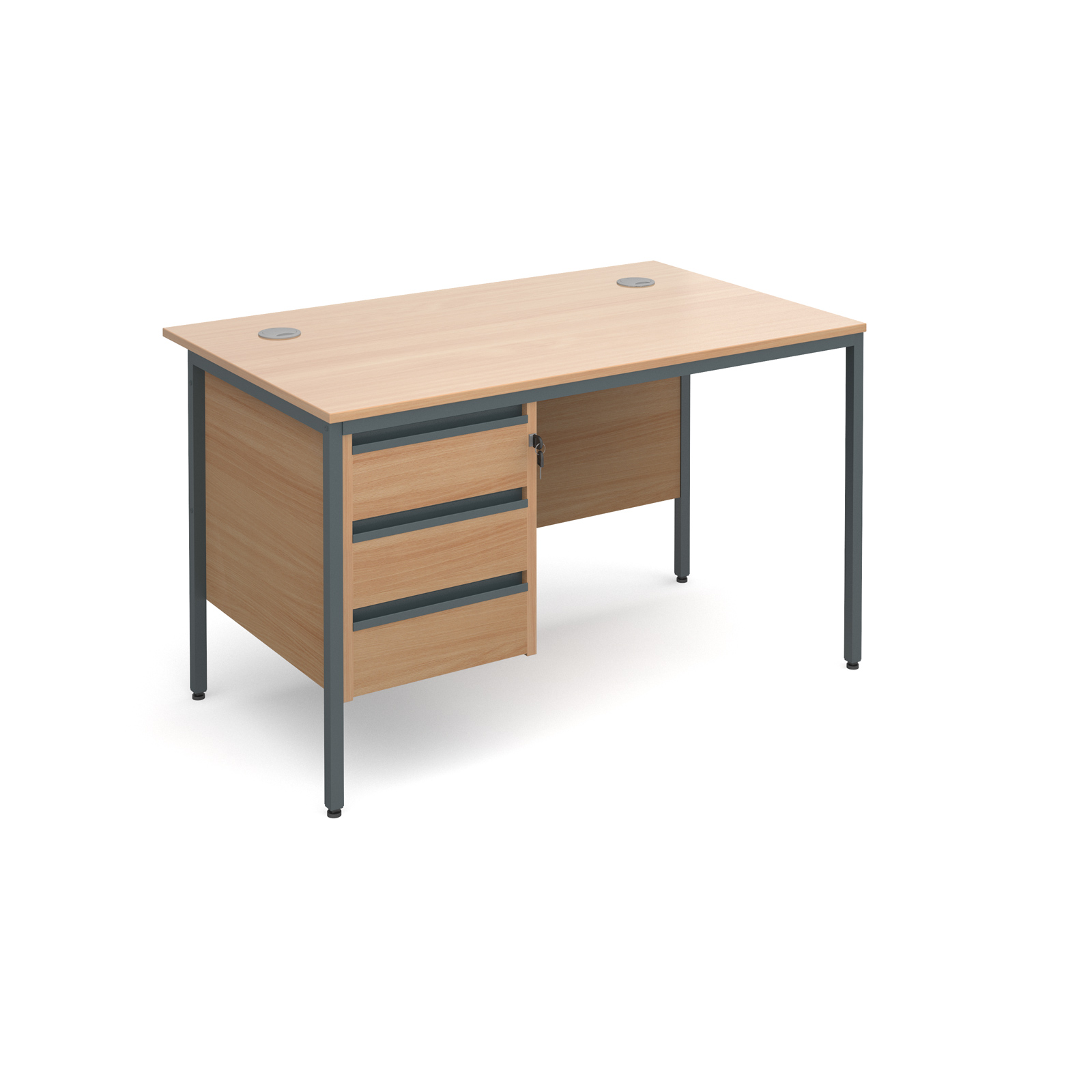 Maestro H Frame Straight Desk With 3 Drawer Pedestal 1228mm Beech
