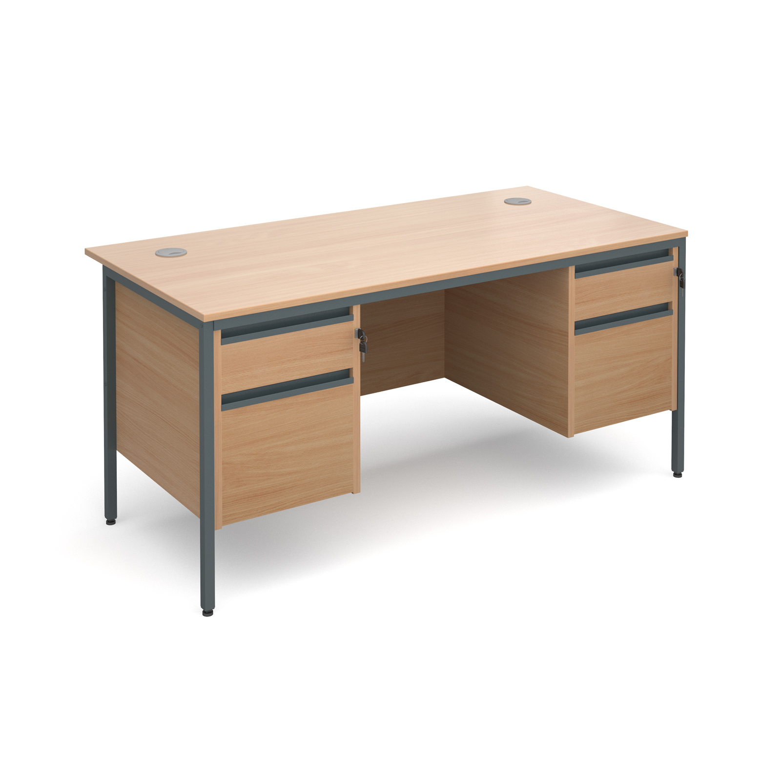 Maestro H frame straight desk with 2 and 2 drawer pedestals 1532mm - beech