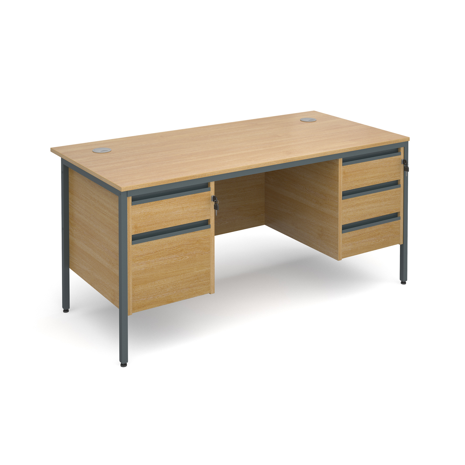 Maestro H frame straight desk with 2 and 3 drawer pedestals 1532mm - oak