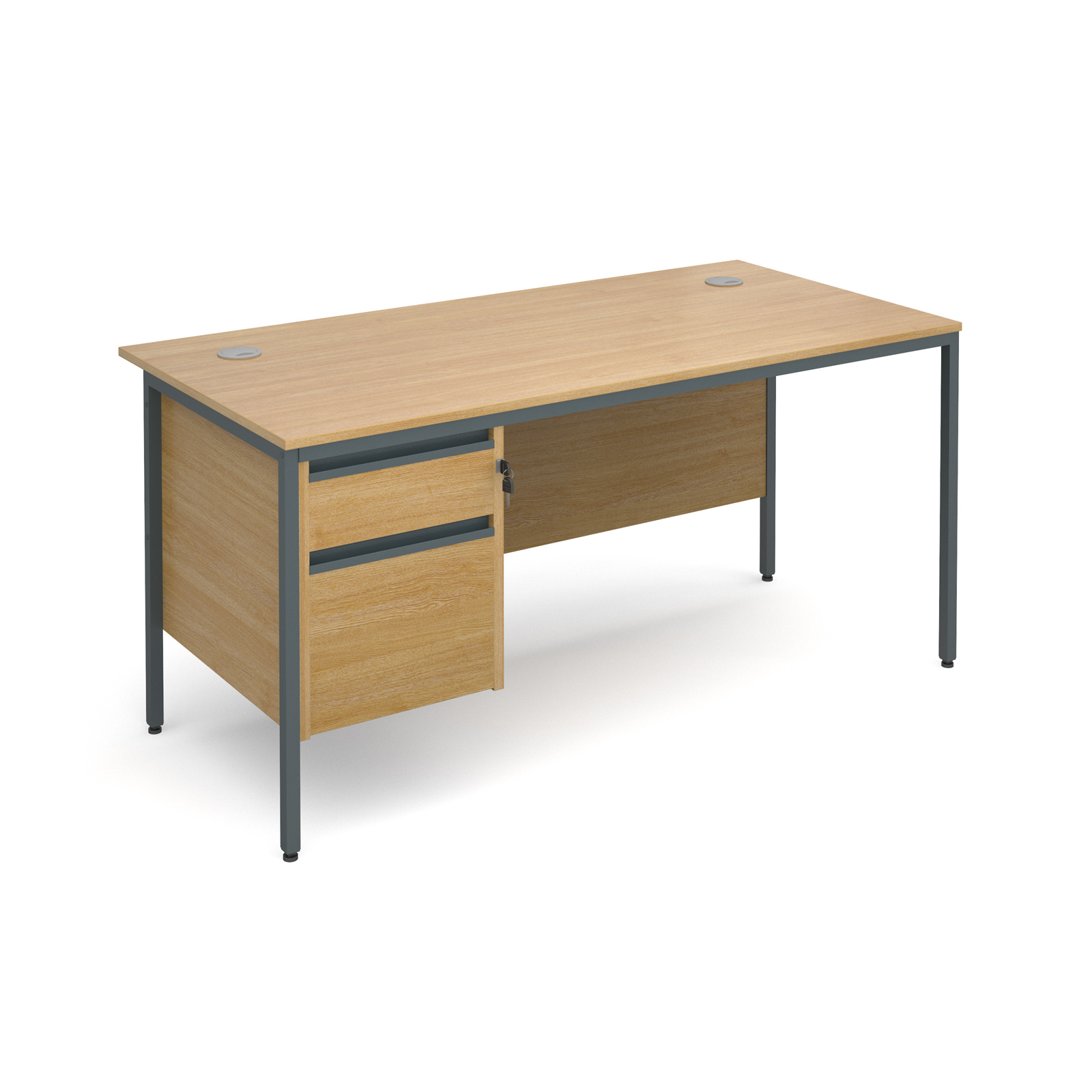 Maestro H frame straight desk with 2 drawer pedestal 1532mm - oak