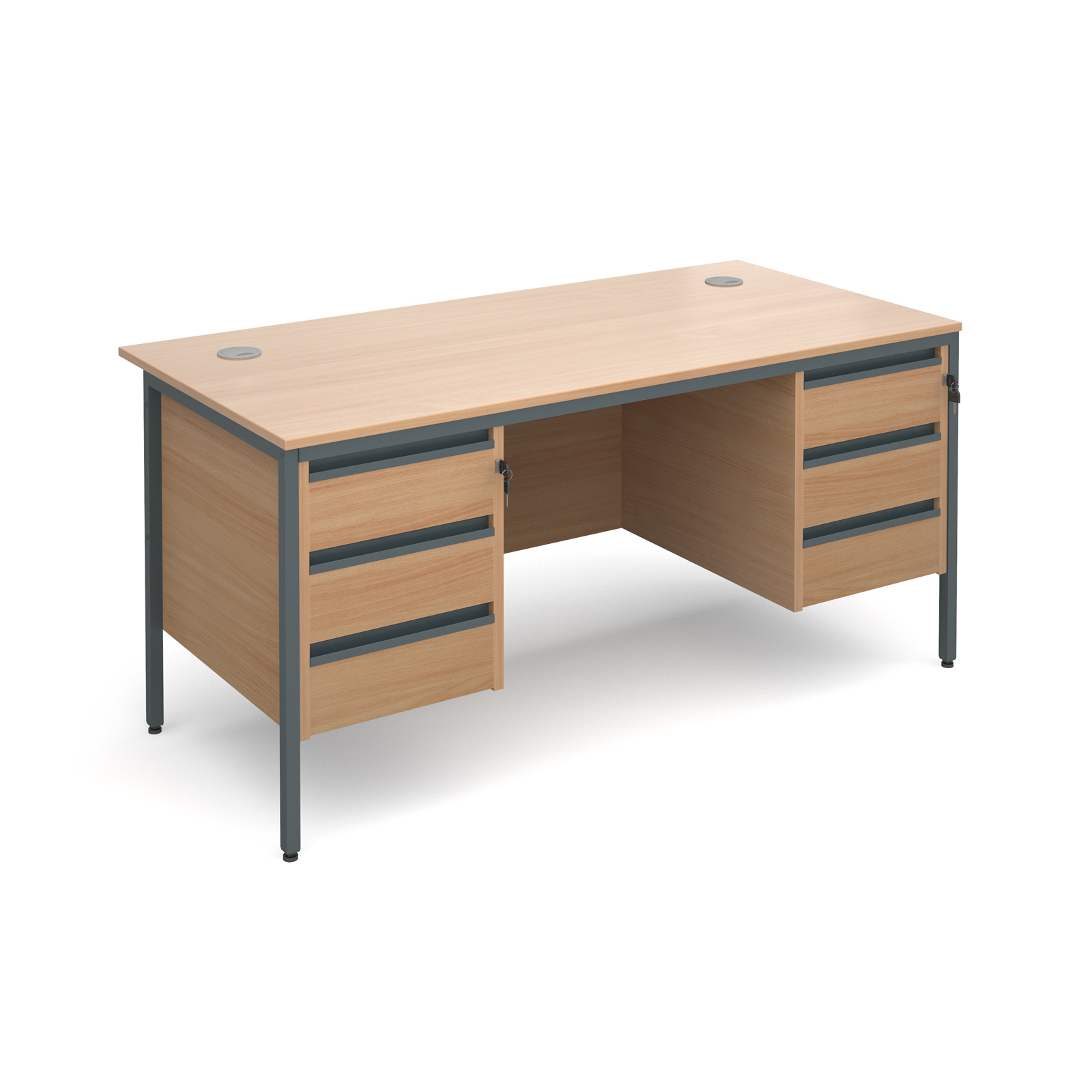 Maestro H frame straight desk with 3 and 3 drawer pedestals 1532mm - beech