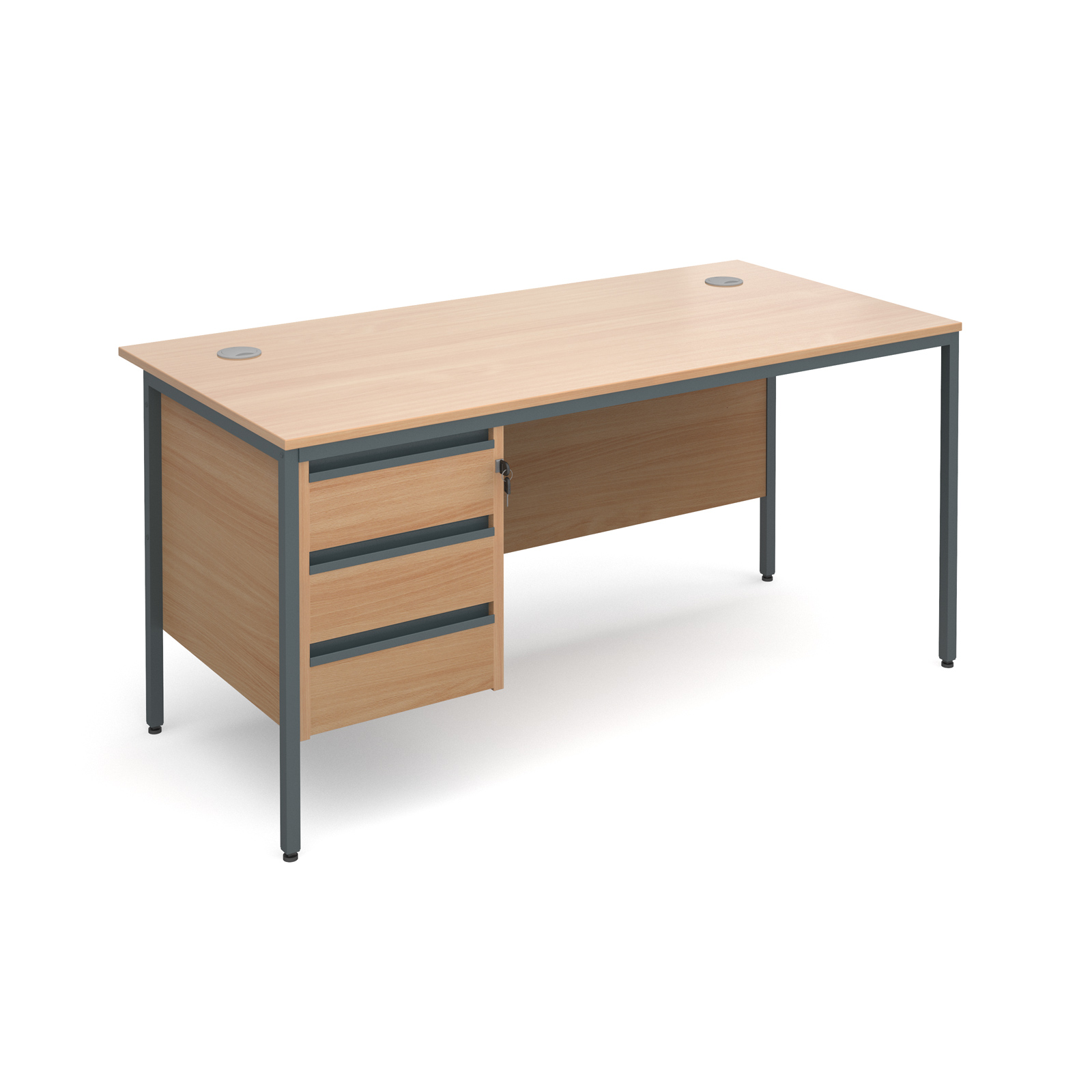Maestro H frame straight desk with 3 drawer pedestal 1532mm - beech