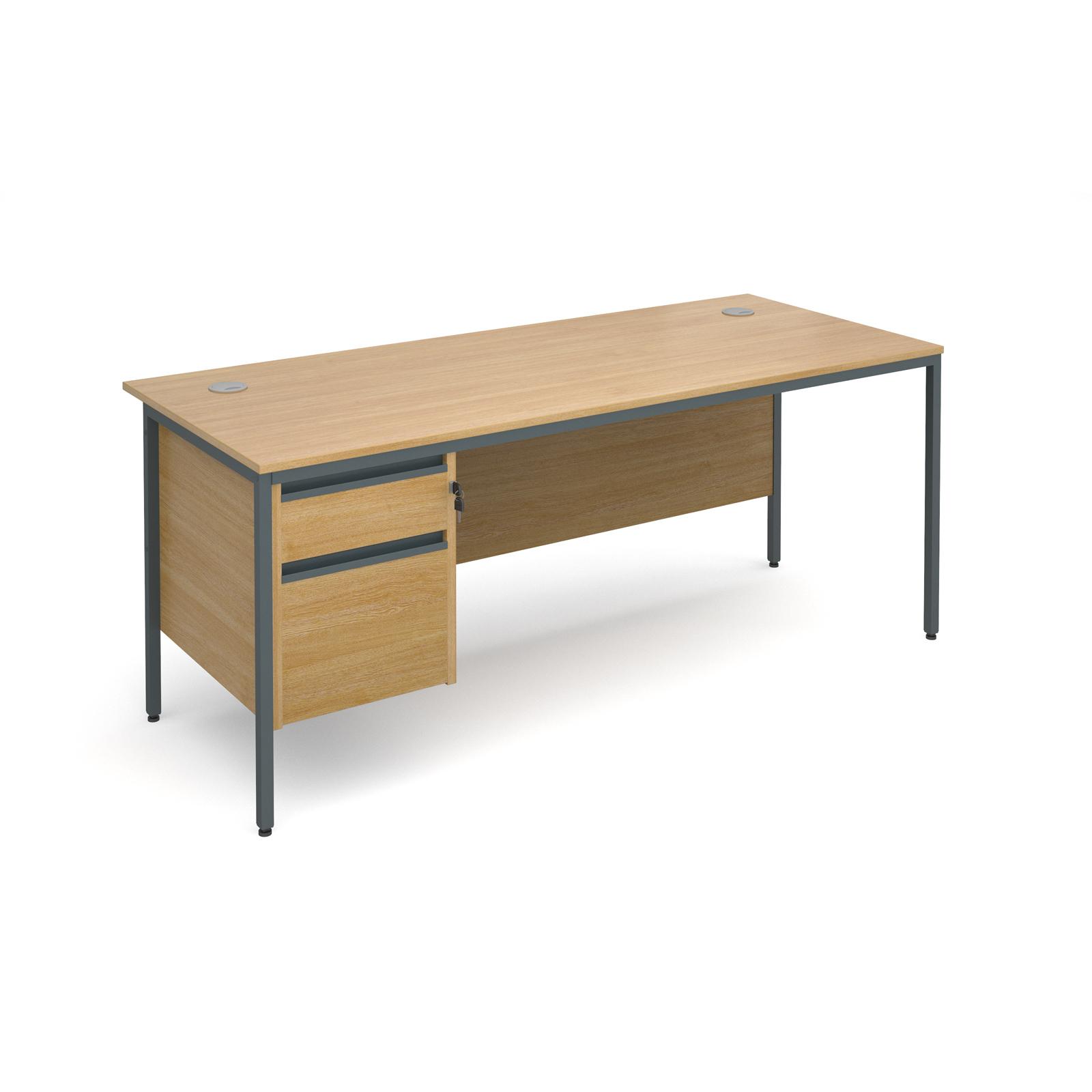 Maestro H frame straight desk with 2 drawer pedestal 1786mm - oak