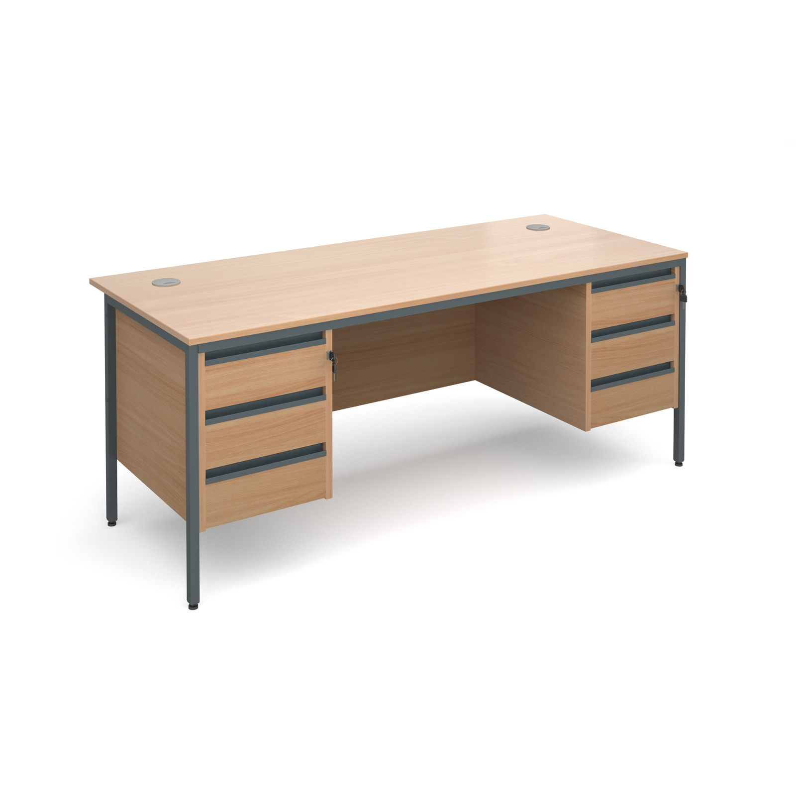 Maestro H frame straight desk with 3 and 3 drawer pedestals 1786mm - beech
