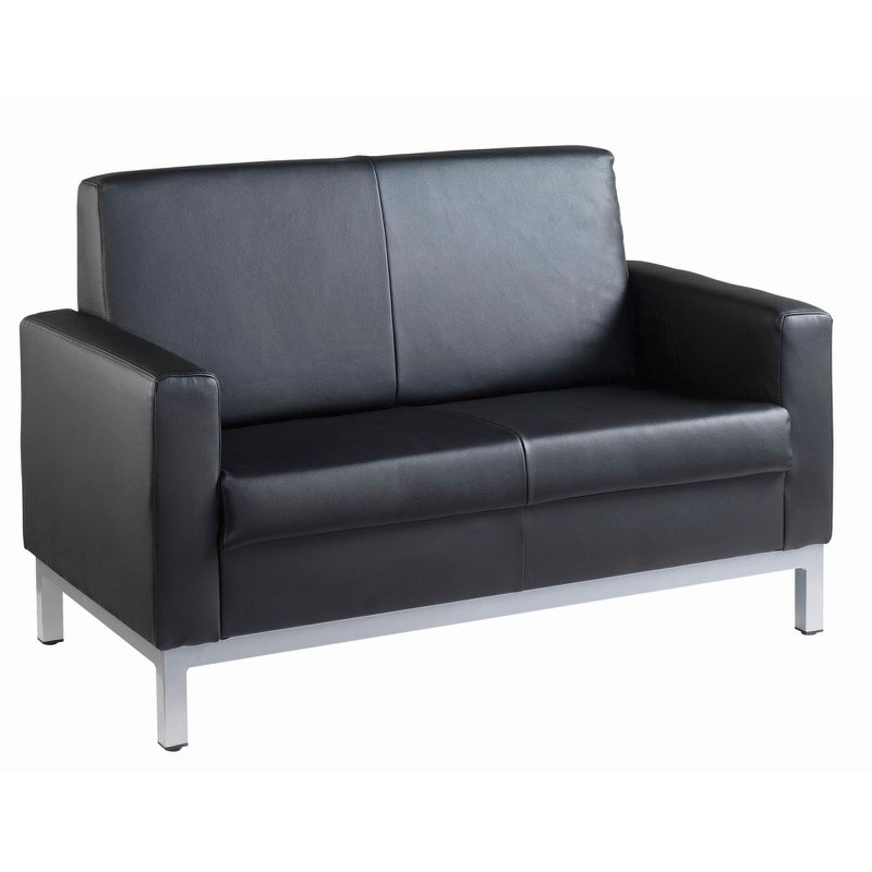 Helsinki square back reception 2 seater chair 1340mm wide - black leather faced