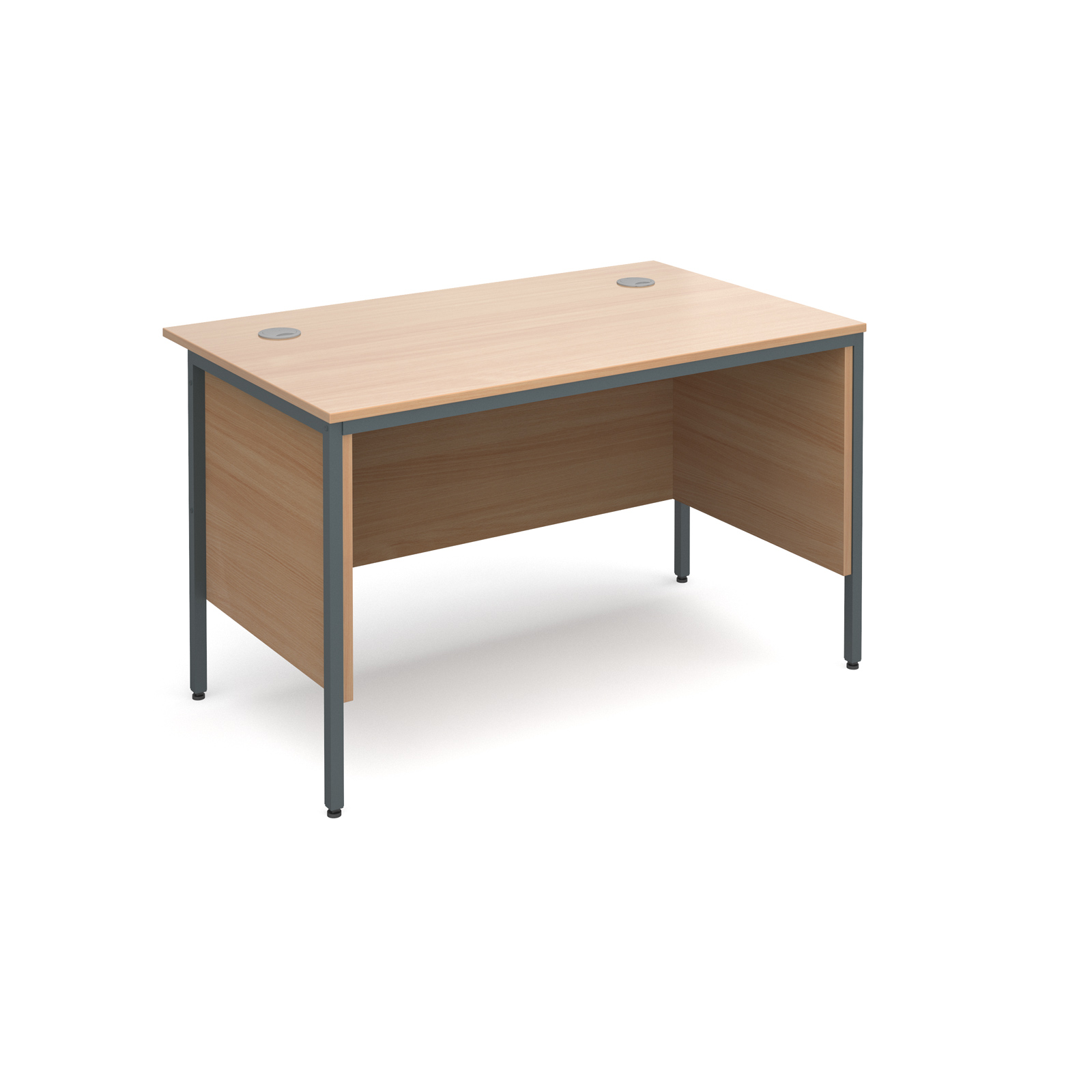 Maestro H frame straight desk with side panels 1228mm - beech