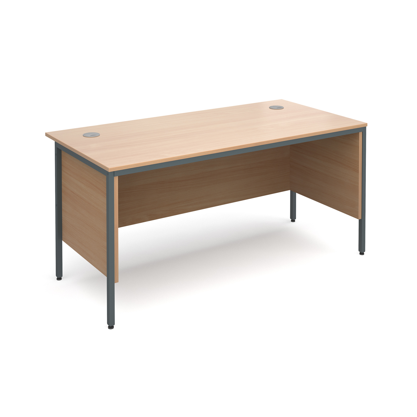 Maestro H frame straight desk with side panels 1532mm - beech