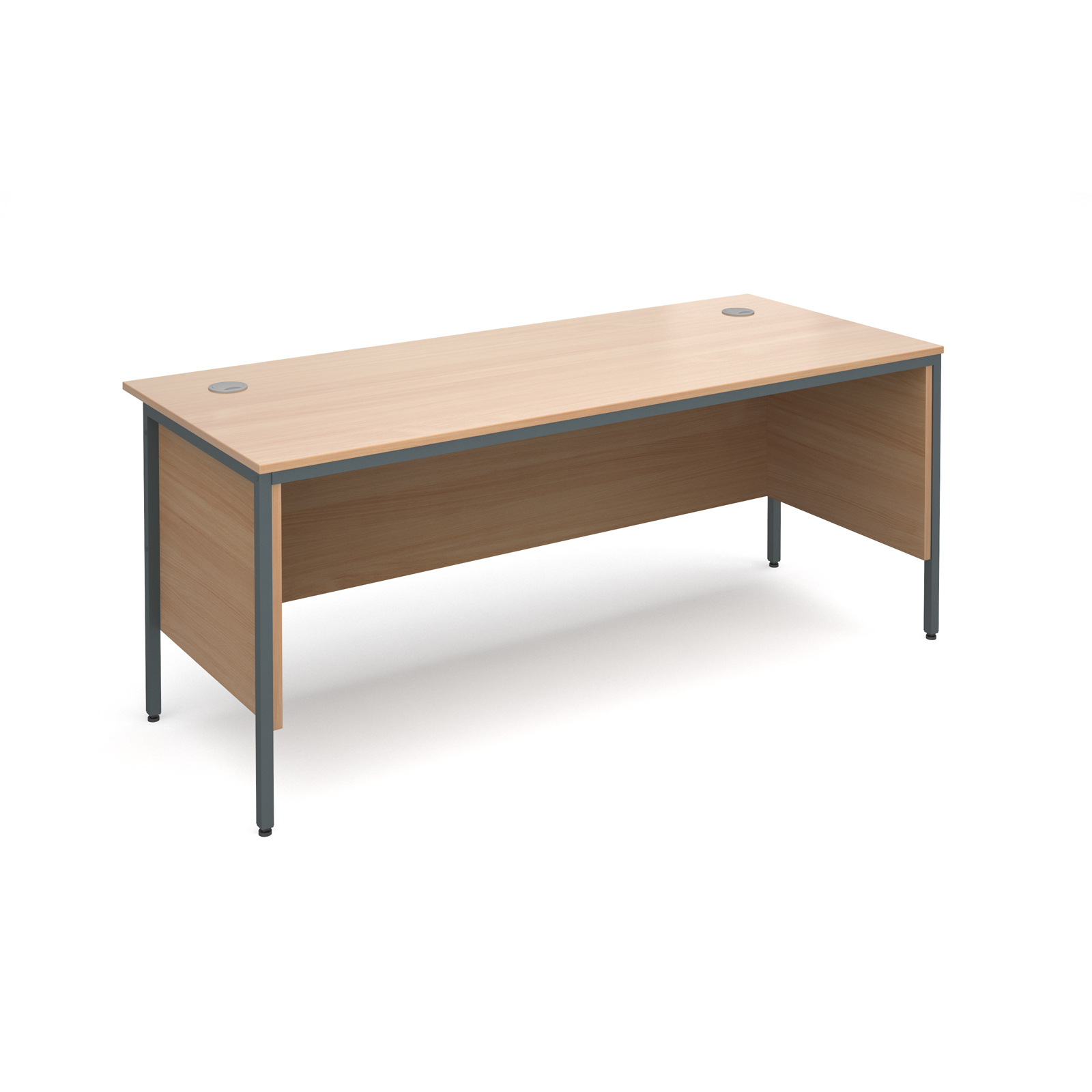 Maestro H frame straight desk with side panels 1786mm - beech