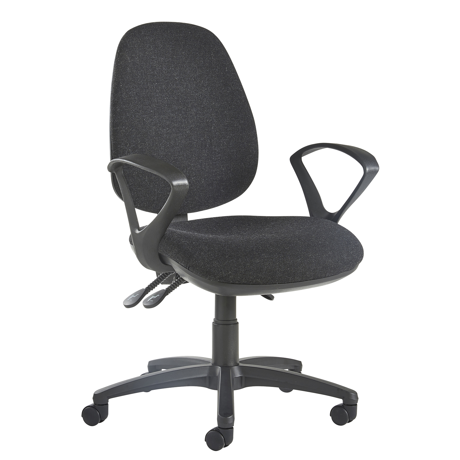 Jota high back operator chair with fixed arms - charcoal