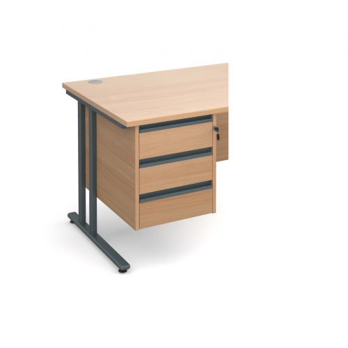 Maestro 25 GL 3 drawer fixed pedestal - beech