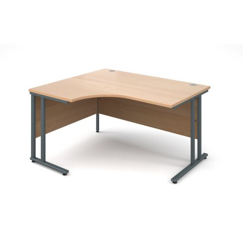 Maestro 25 GL left hand ergonomic desk 1400mm - graphite cantilever frame and beech top