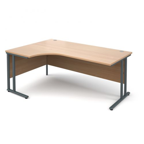 Maestro 25 GL left hand ergonomic desk 1800mm - graphite cantilever frame and beech top